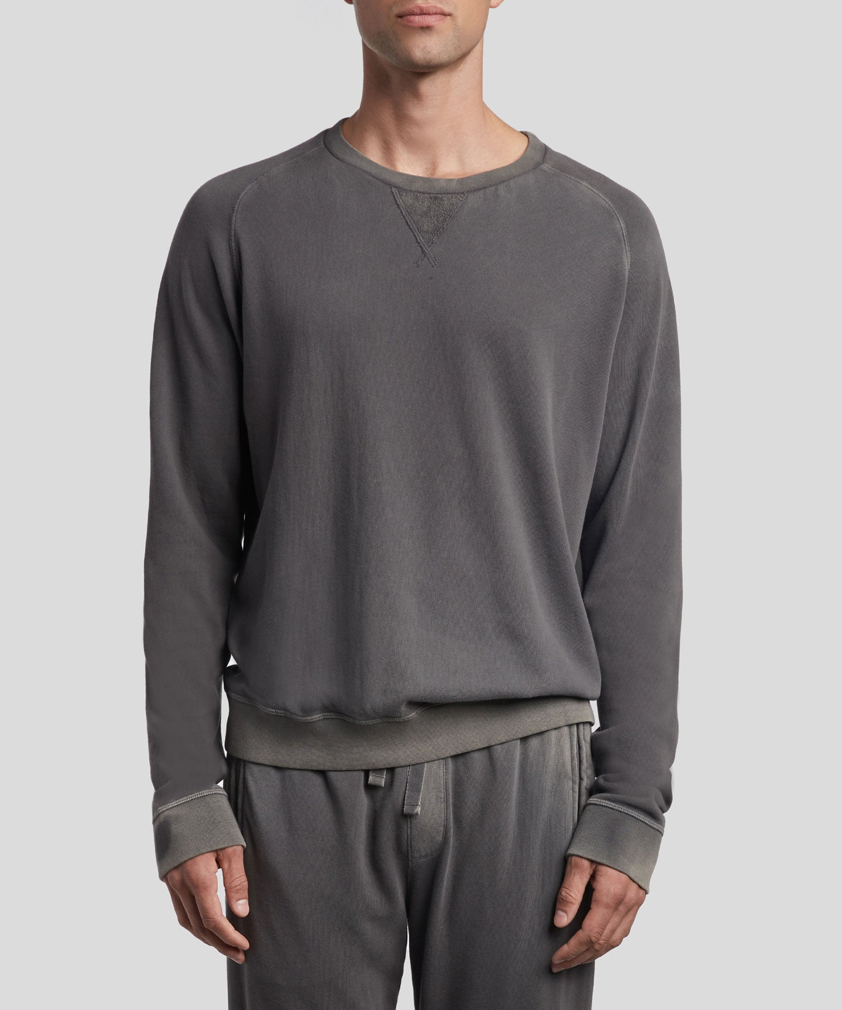 Asphalt Grey French Terry Sweatshirt - Men's Luxe Loungewear by ATM Anthony Thomas Melillo