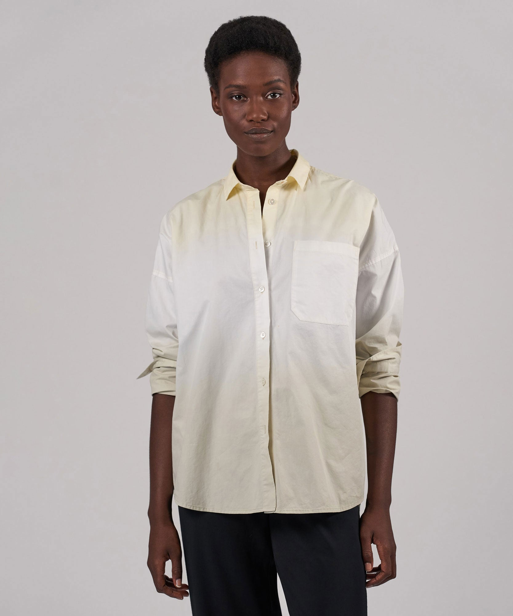 Bakelite/ Talc/ Gesso Cotton Poplin Oversized Boyfriend Shirt - Women's Button Down Shirt by ATM Anthony Thomas Melillo