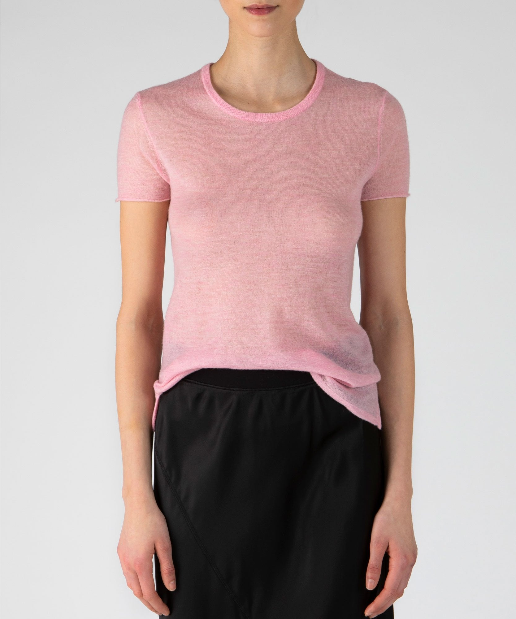 Ballet Pink Feather Weight Cashmere Crew Neck Tee - Women's Luxe Sweater by ATM Anthony Thomas Melillo