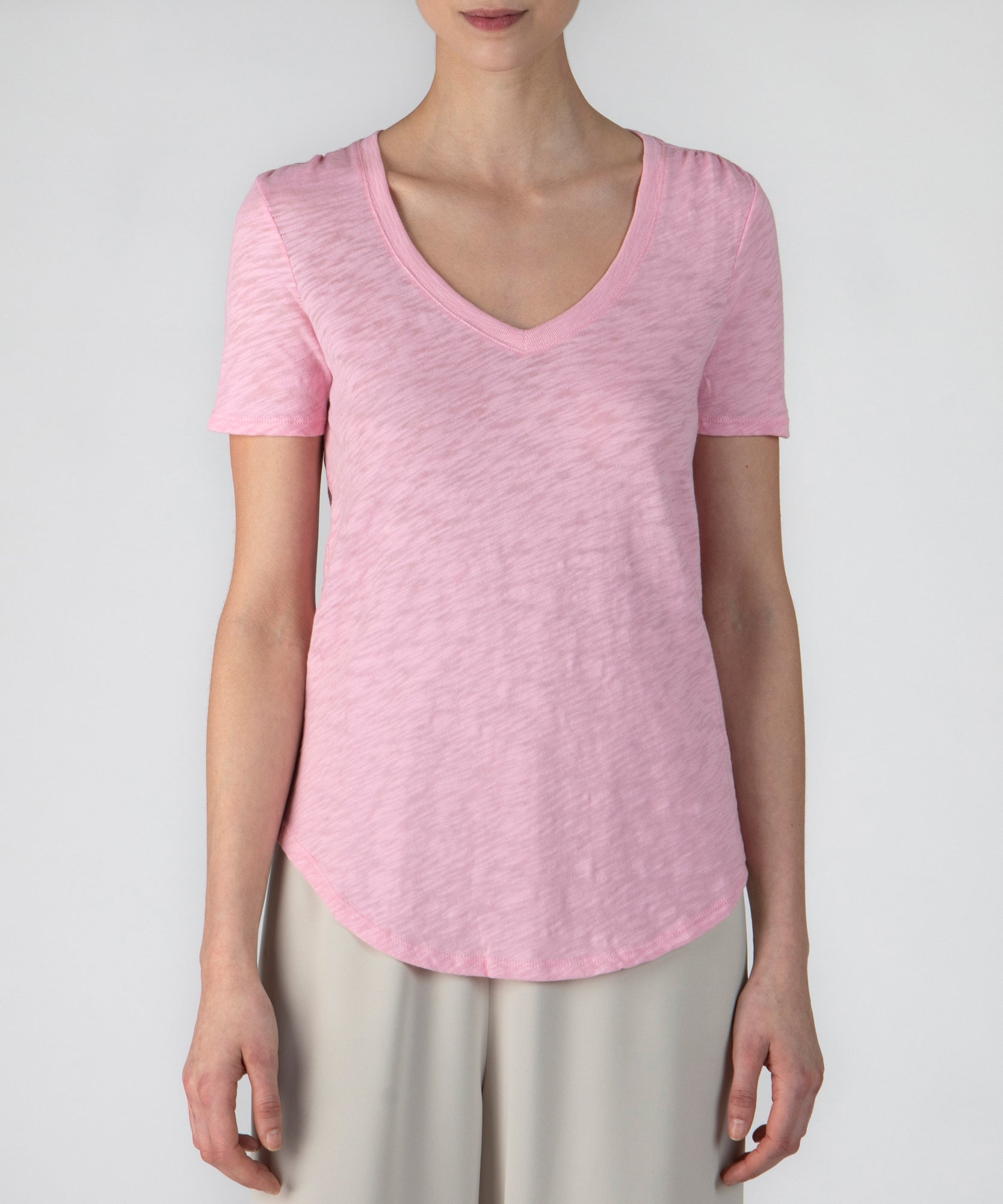 Ballet Pink Slub Jersey Classic V-Neck Tee - Women's Cotton Short Sleeve Tee by ATM Anthony Thomas Melillo