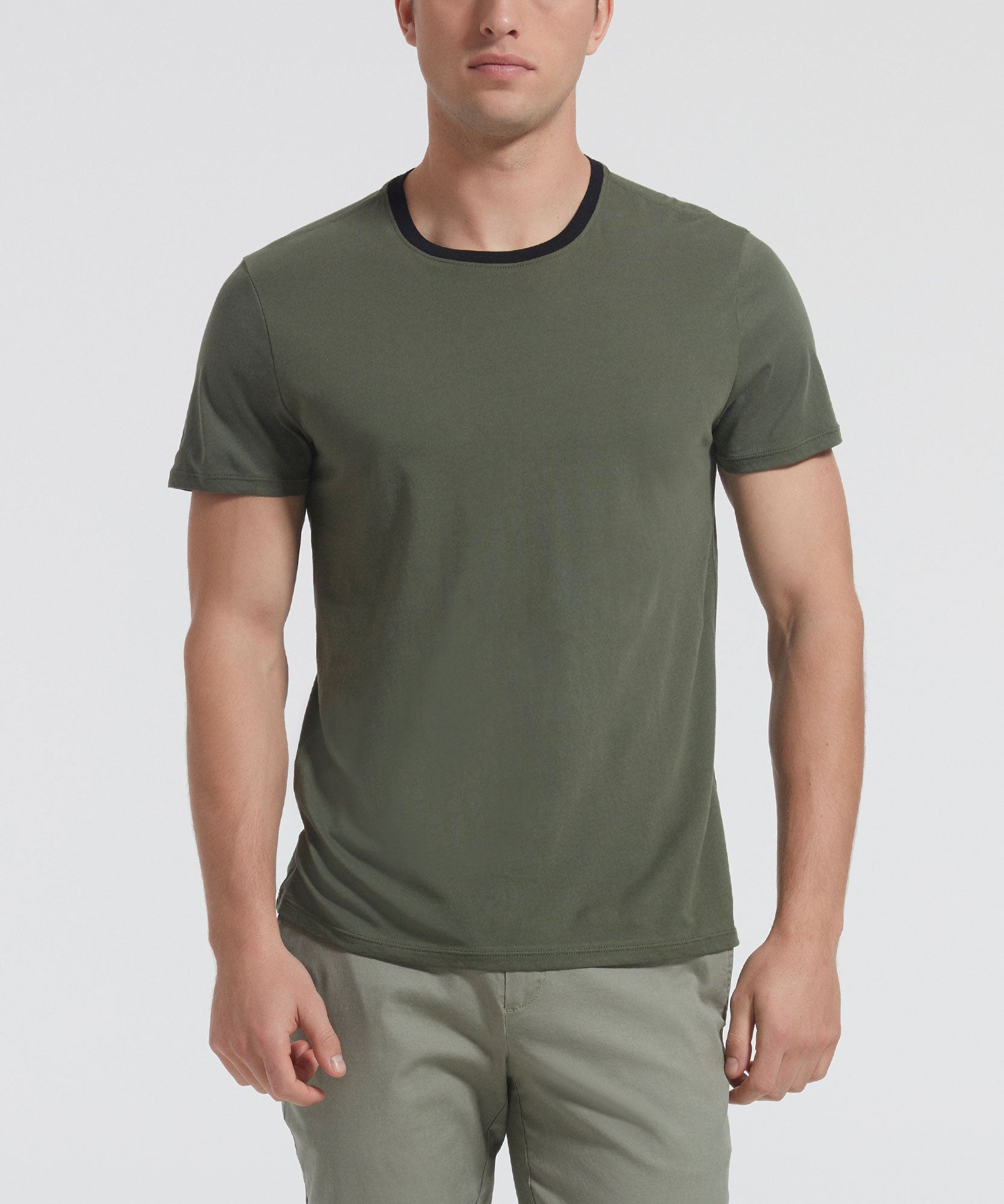 Beetle Green Classic Jersey Contrast Band Crew Neck Tee - Men's Luxe Cotton Tee by ATM Anthony Thomas Melillo