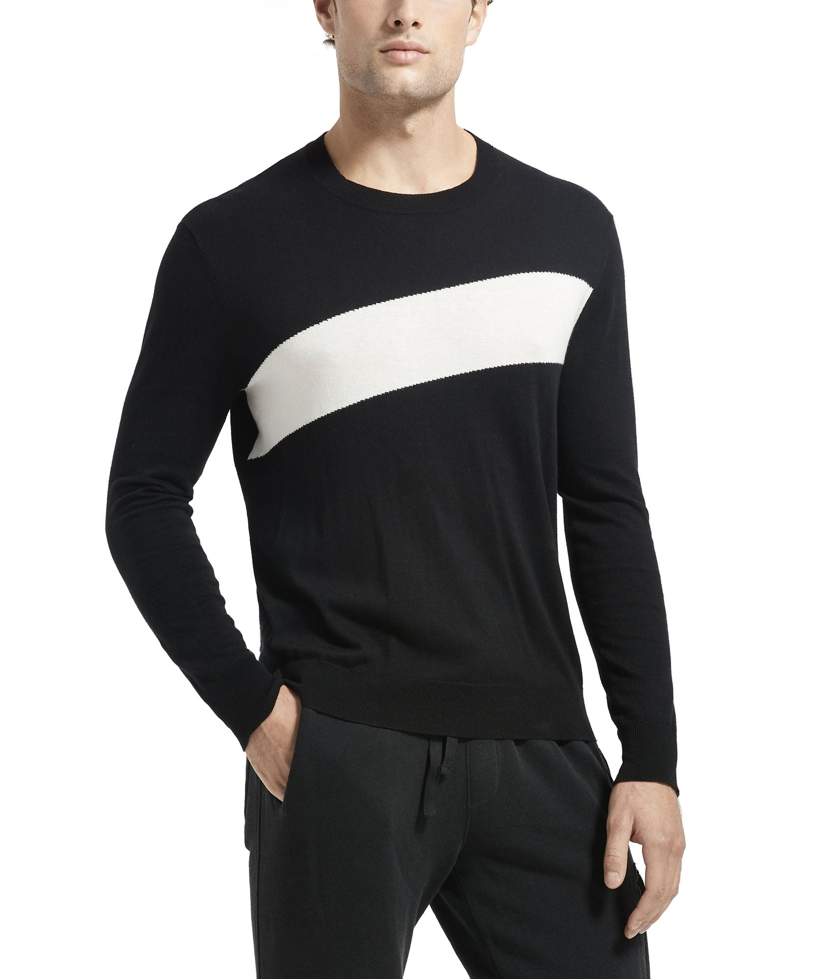 Black Cotton Cashmere Intarsia Stripe Crew Neck Sweater - Men's Luxe Sweater by ATM Anthony Thomas Melillo