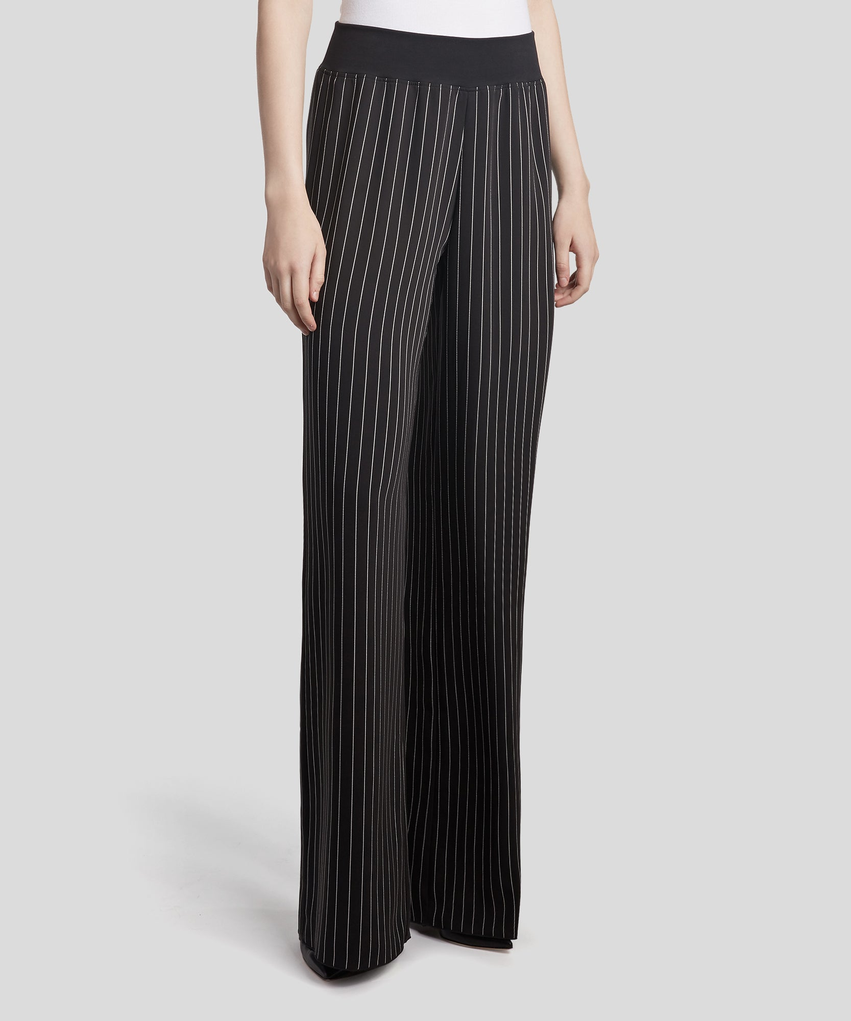 Black and White Striped Wide Leg Pants - Women's Luxe Pants ATM Anthony Thomas Melillo