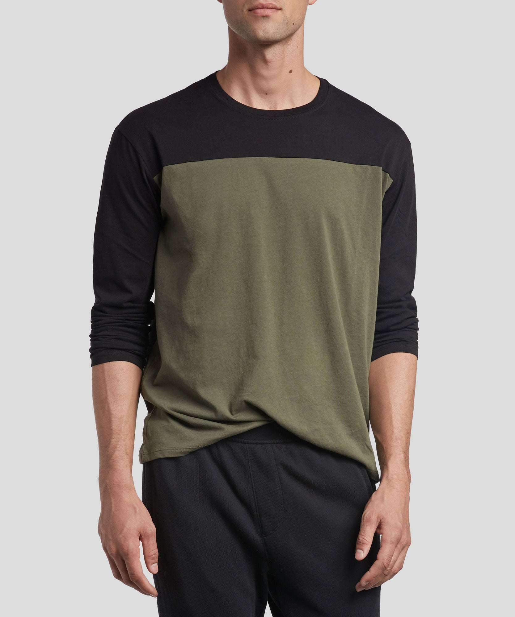 Black and Beetle Classic Jersey Colorblock Long Sleeve Crew Neck Tee - Men's Cotton Long Sleeve T-shirt by ATM Anthony Thomas Melillo