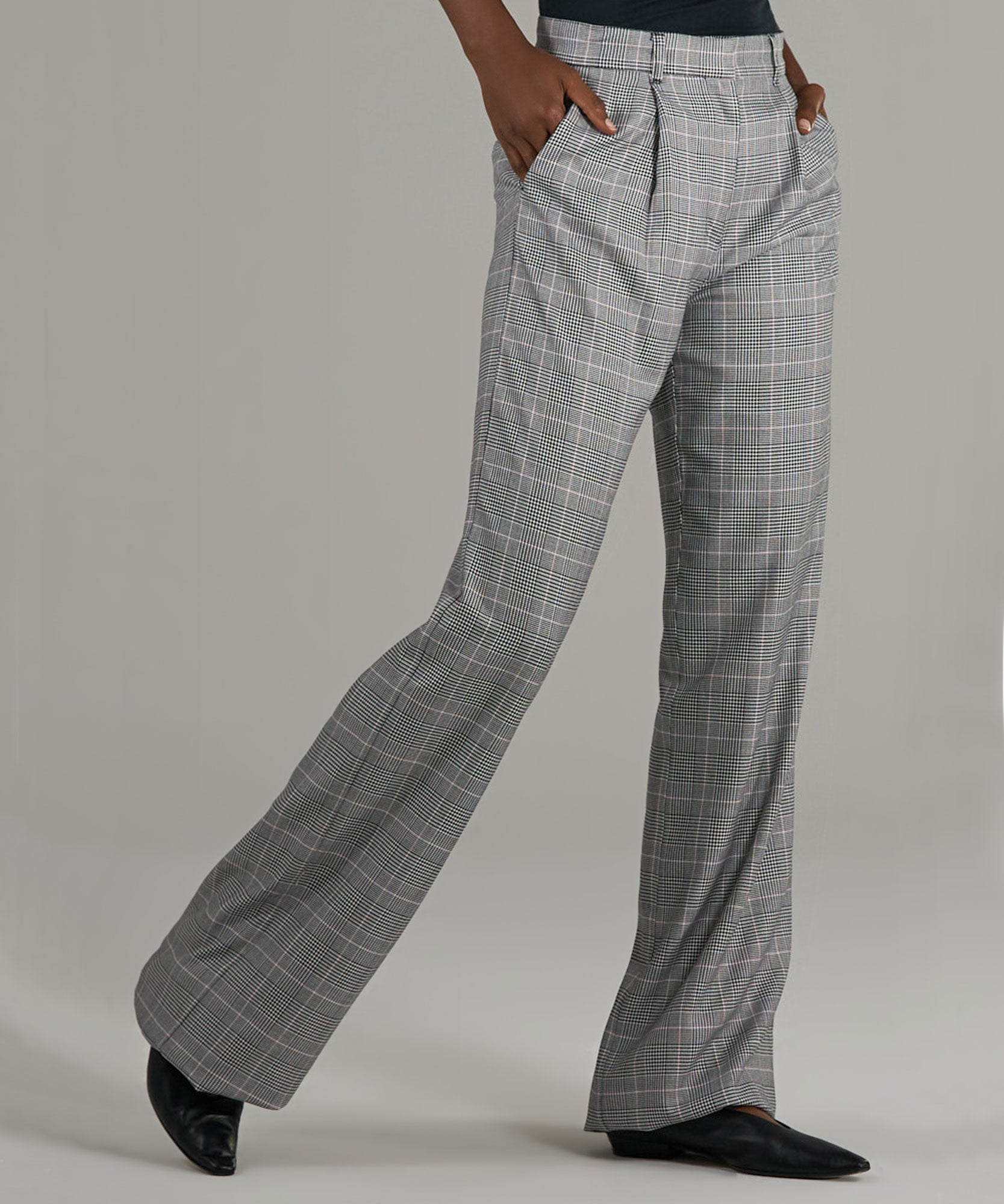 Black/ Beige Combo Glen Plaid Wide Leg Pants - Women's Pants by ATM Anthony Thomas Melillo