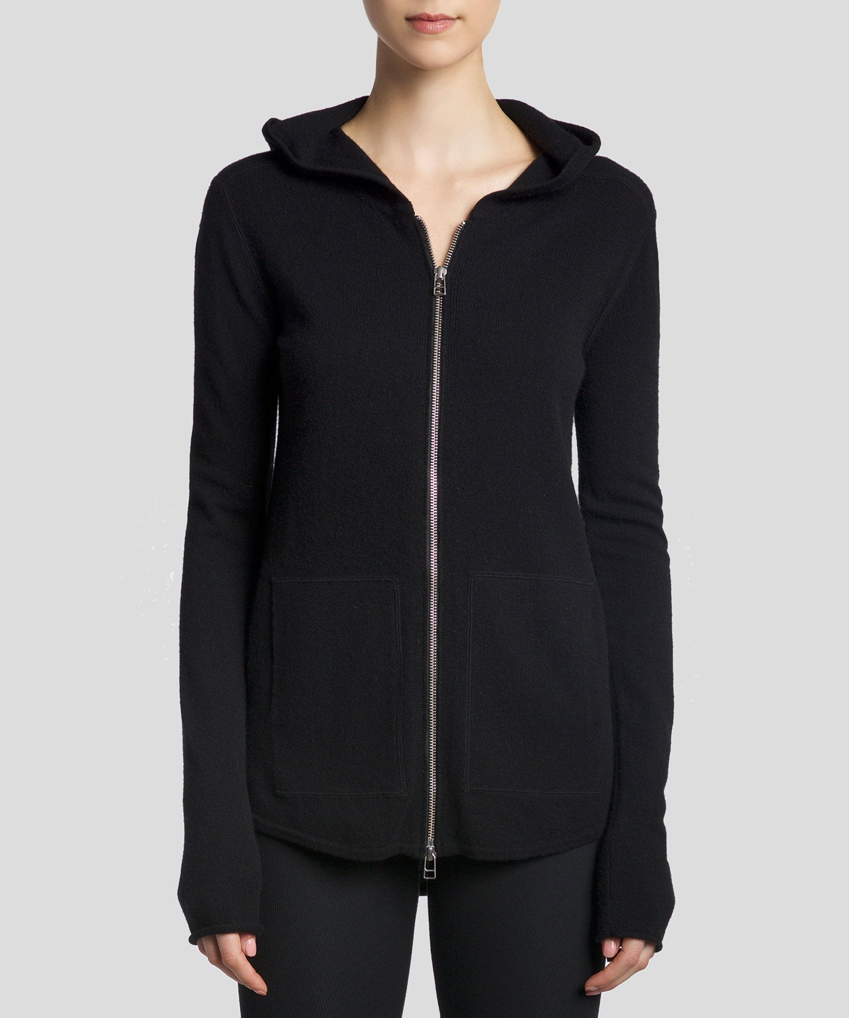 Black Cashmere Blend Double Zip-Up Hoodie - Women's Luxe Sweater by ATM Anthony Thomas Melillo