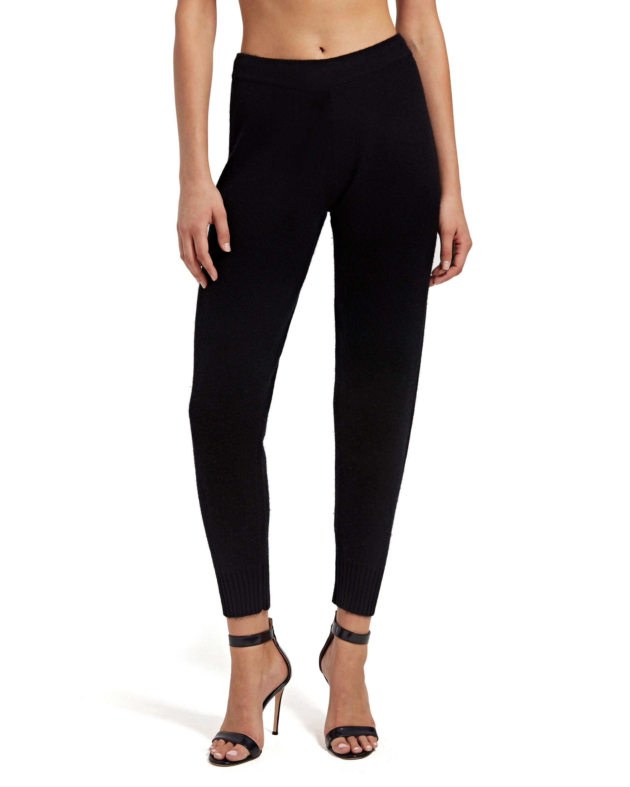 Black Cashmere Blend Sweater Pants - Women's Luxe Loungewear by ATM Anthony Thomas Melillo