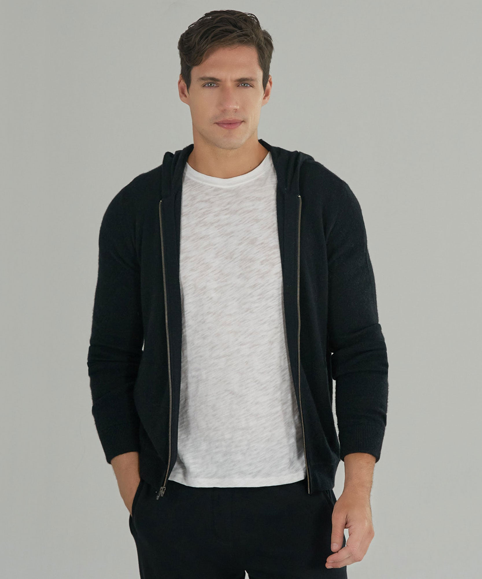 Black Cashmere Blend Zip-Up Hoodie - Men's Sweater by ATM Anthony Thomas Melillo