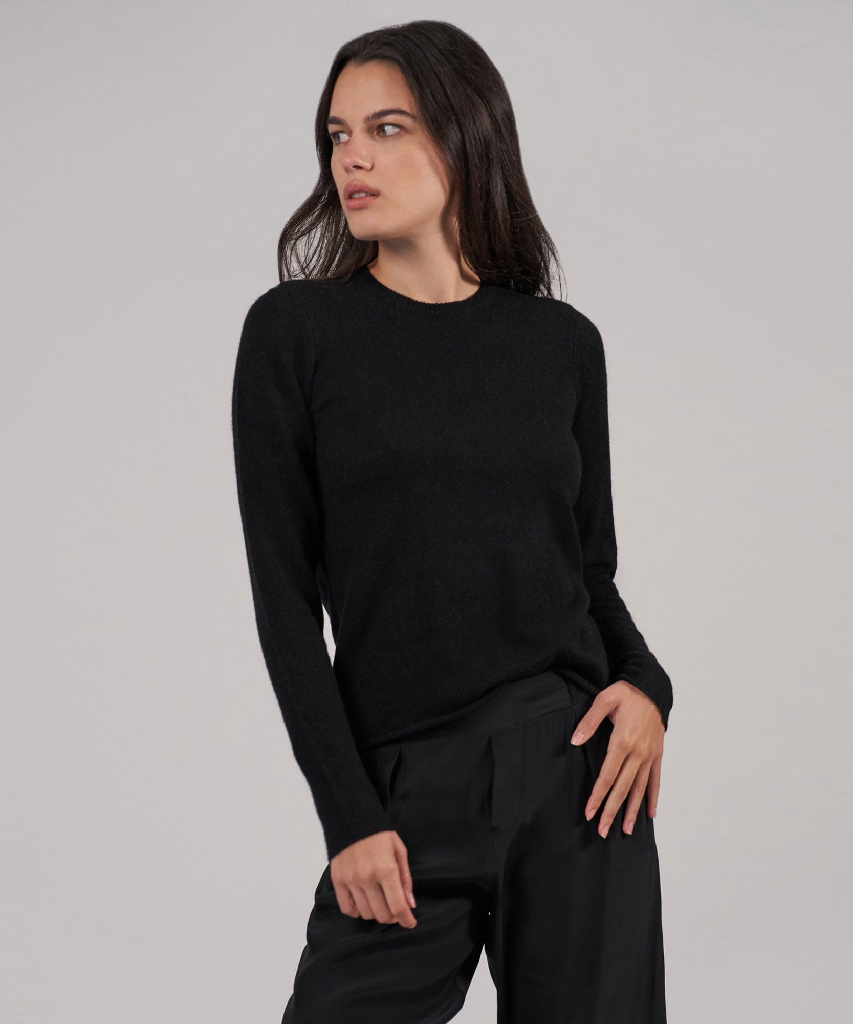 Black Cashmere Crew Neck Sweater - Women's Luxe Sweater by ATM Anthony Thomas Melillo