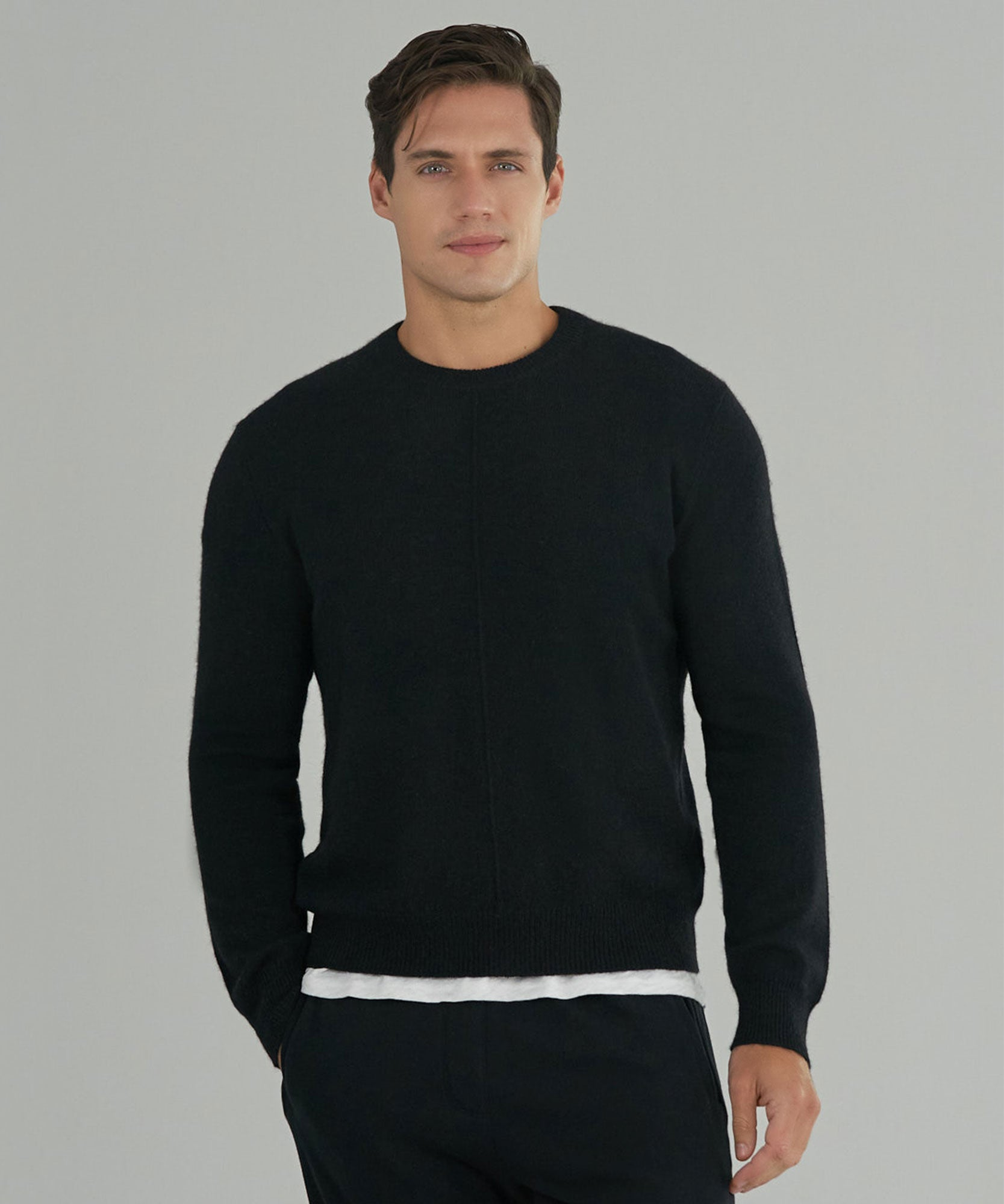 Black Cashmere Exposed Seam Crew Neck Sweater - Men's Cashmere Sweater by ATM Anthony Thomas Melillo