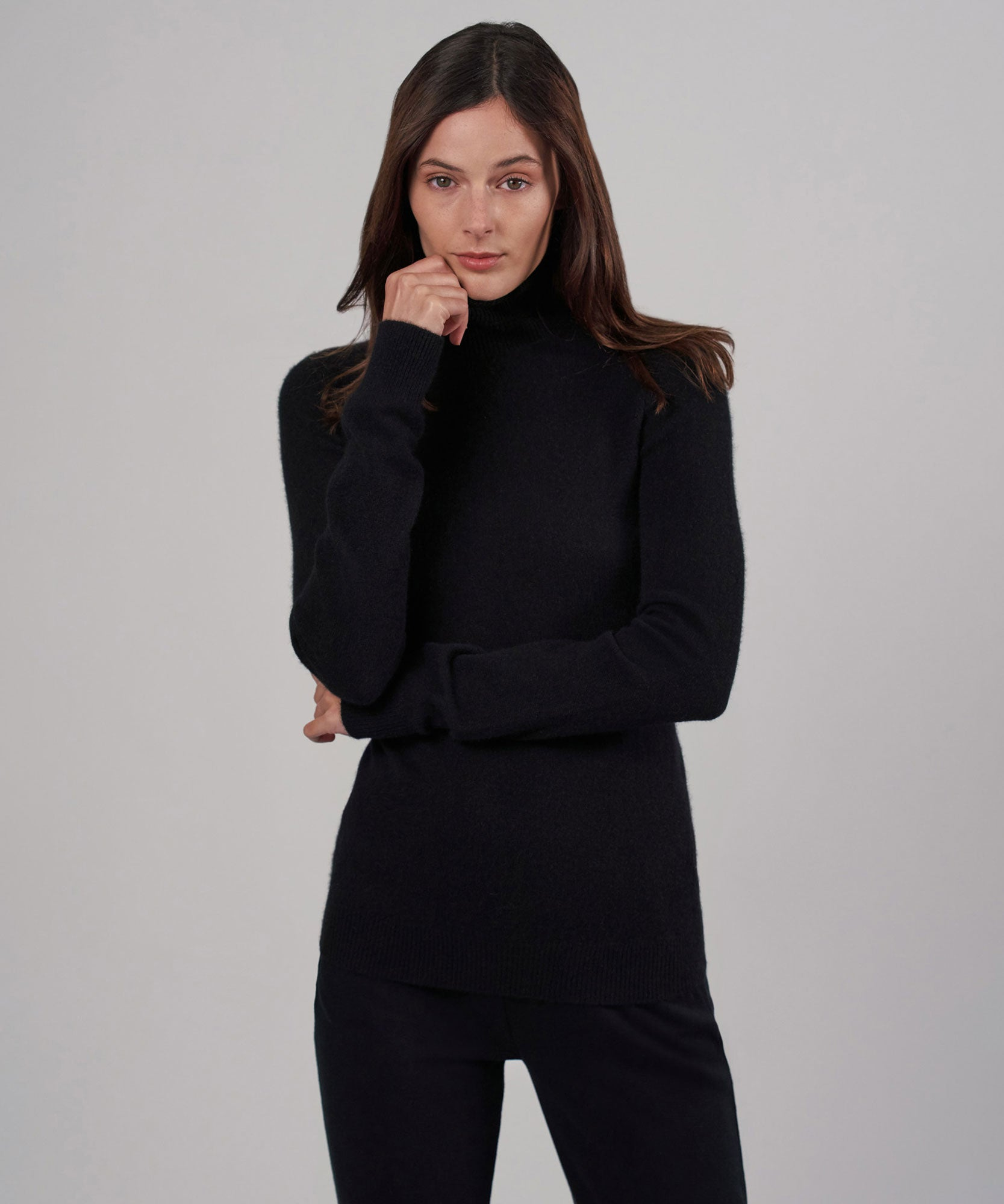 Black Cashmere Long Sleeve Turtleneck Sweater - Women's Sweater by ATM Anthony Thomas Melillo