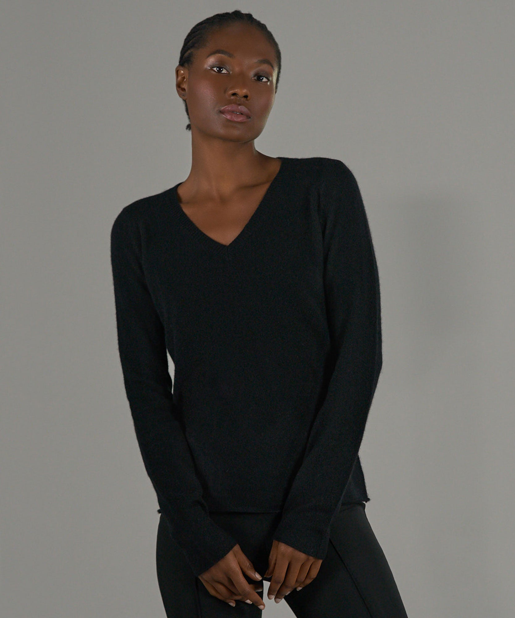 Black Cashmere V-Neck Sweater - Women's Luxe Sweater by ATM Anthony Thomas Melillo