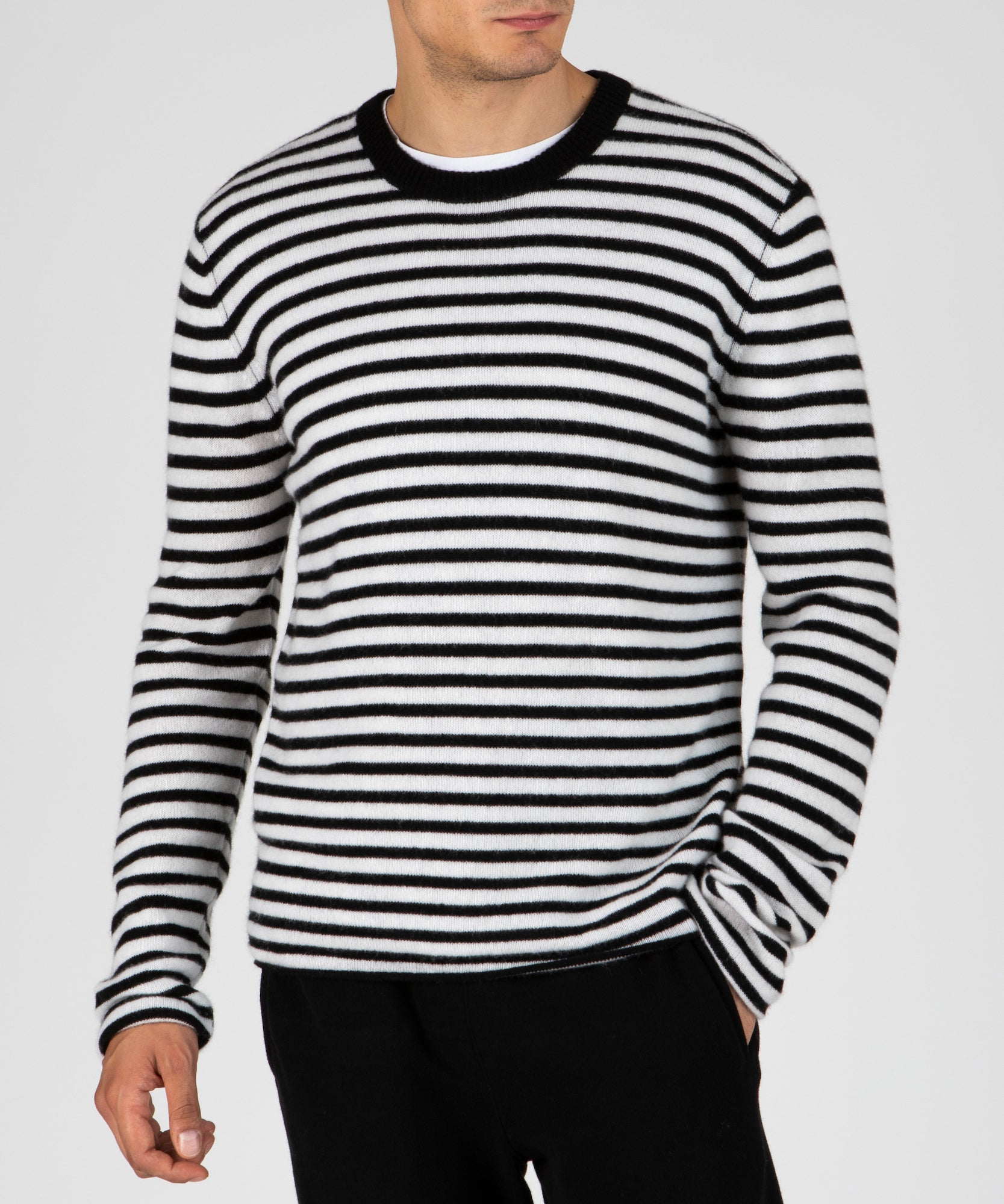 Black and Chalk Stripe Cashmere Crew Neck Sweater - Men's Luxe Cashmere Sweaters by ATM Anthony Thomas Melillo