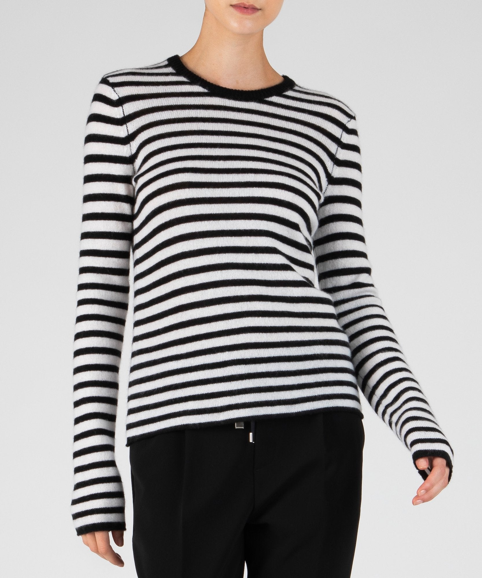 Black and Chalk Striped Cashmere Long Sleeve Crew Neck Sweater - Women's Luxe Sweater by ATM Anthony Thomas Melillo