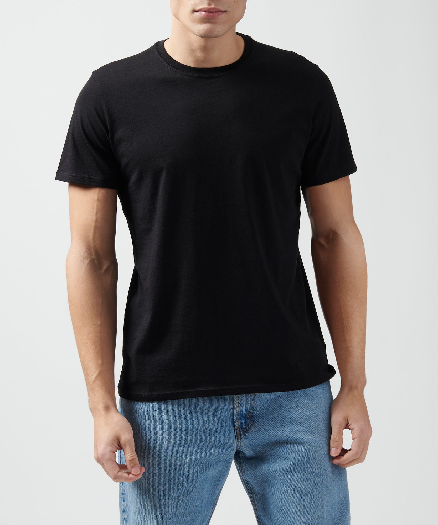 Black Classic Jersey Crew Neck Tee - Men's Cotton Short Sleeve T-shirt by ATM Anthony Thomas Melillo