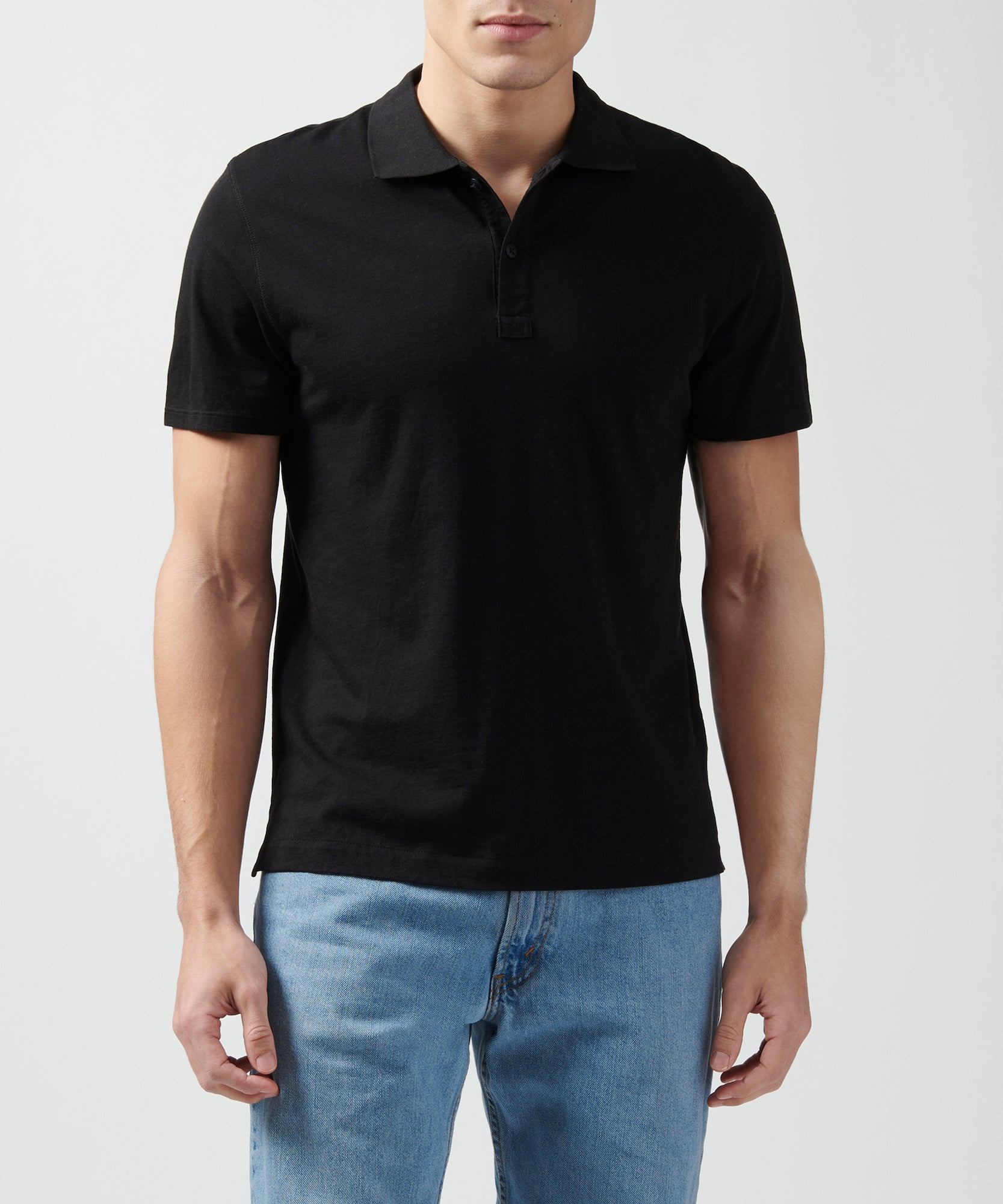 Black Classic Jersey Short Sleeve Polo - Men's Polo Shirt by ATM Anthony Thomas Melillo