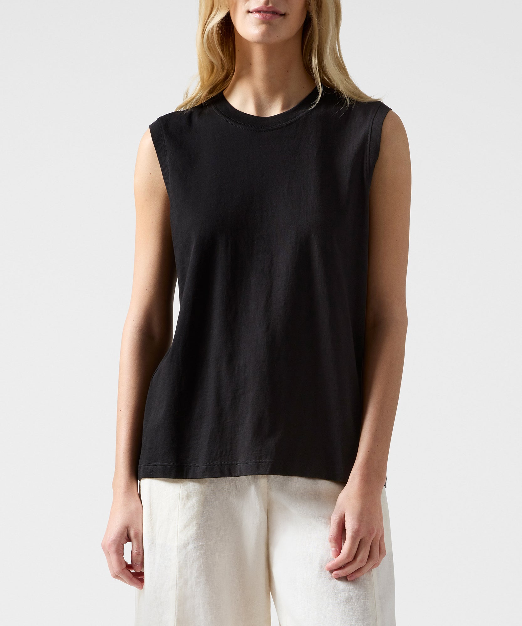 Black Classic Jersey Sleeveless Boy Tee - Women's Cotton Sleeveless T-shirt by ATM Anthony Thomas Melillo