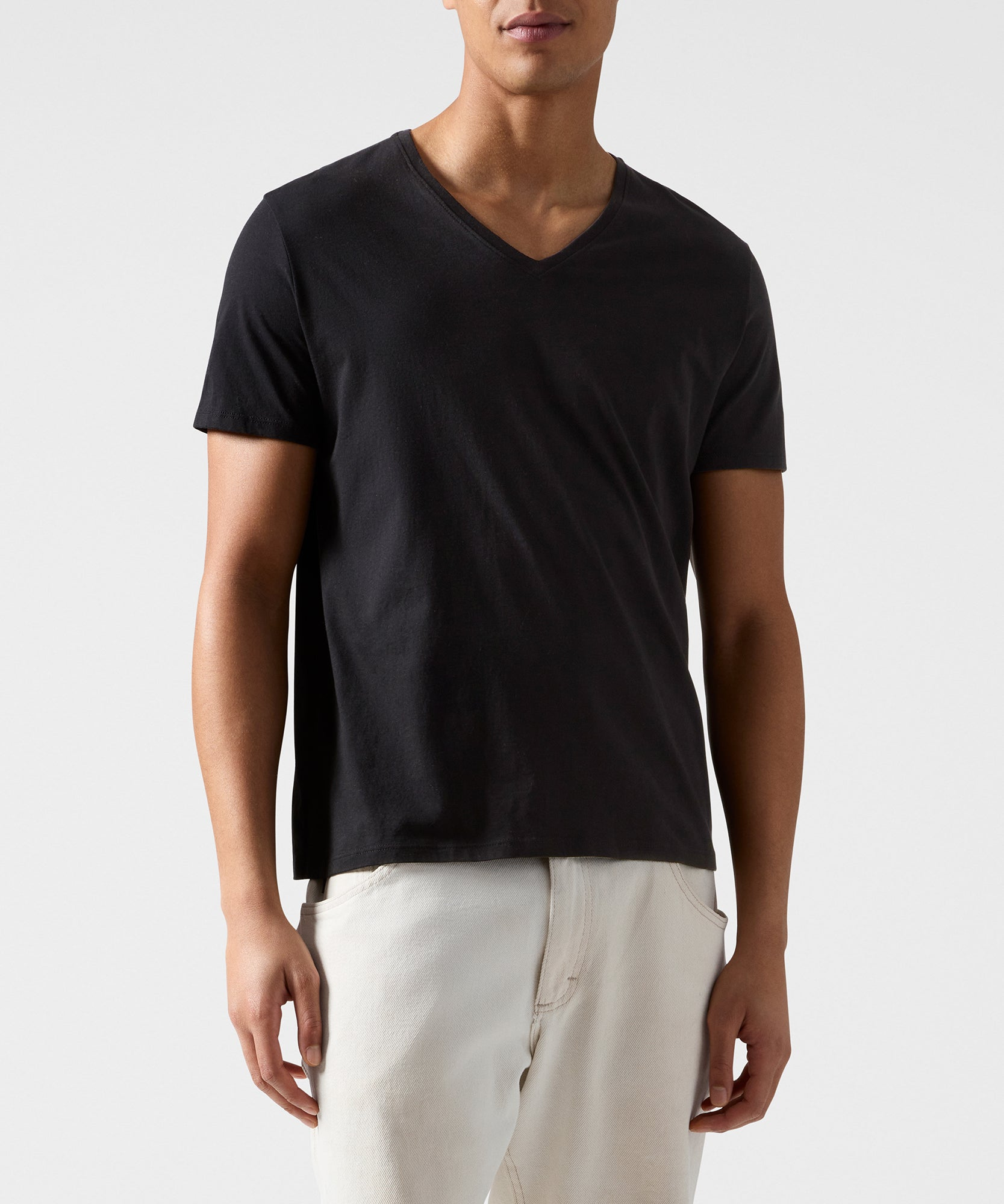 Black Classic Jersey V-Neck Tee - Men's Cotton Short Sleeve T-shirt by ATM Anthony Thomas Melillo