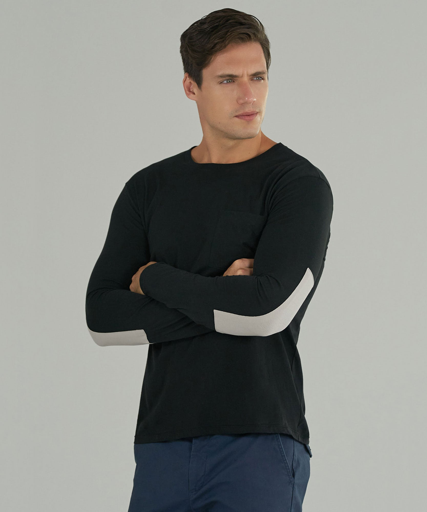Black Combo Classic Jersey Long Sleeve Crew Neck Pocket Tee - Men's Long Sleeve T-Shirt by ATM Anthony Thomas Melillo