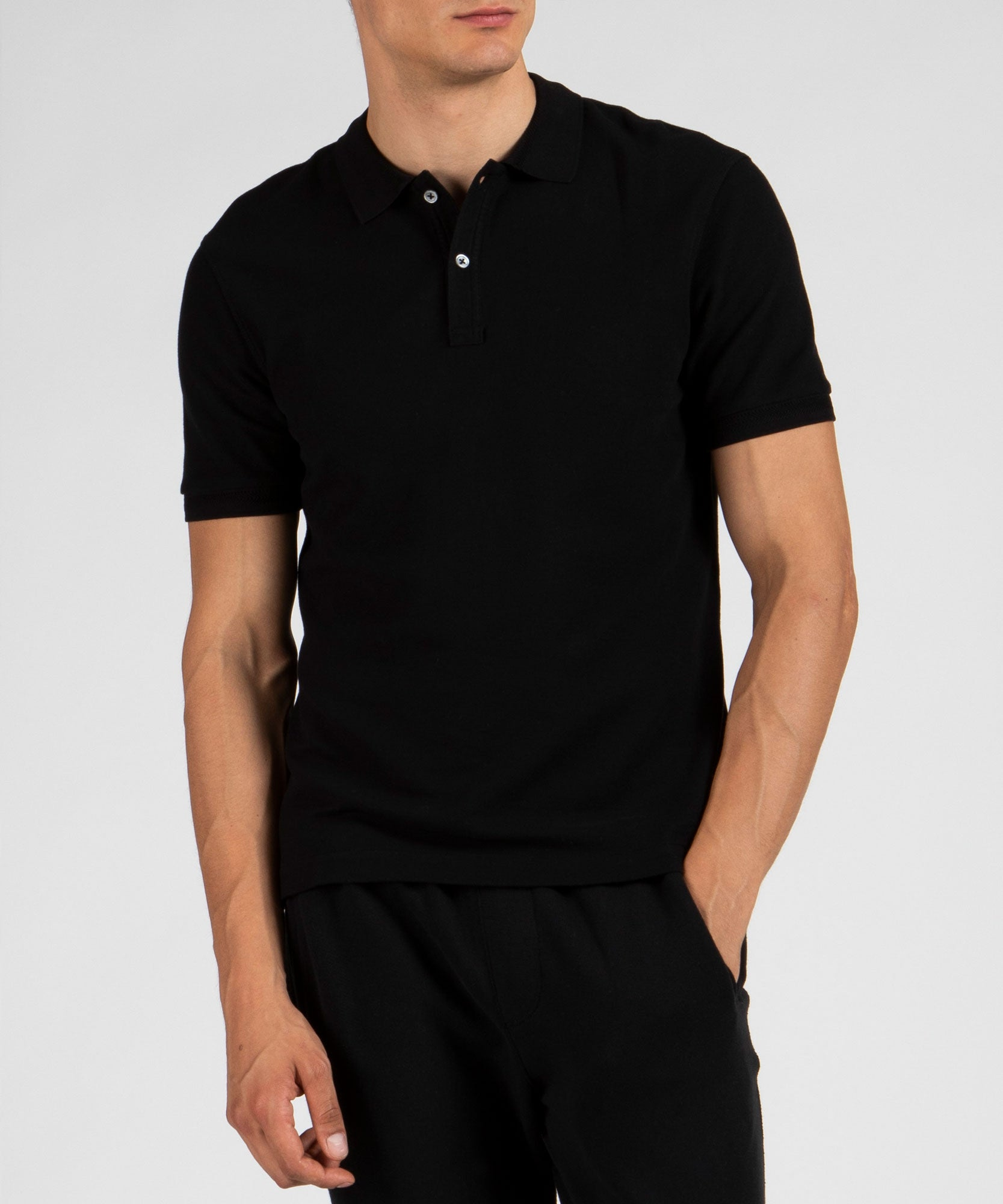 Black Cotton Pique Classic Polo - Men's Polo Shirt by ATM Anthony Thomas Melillo