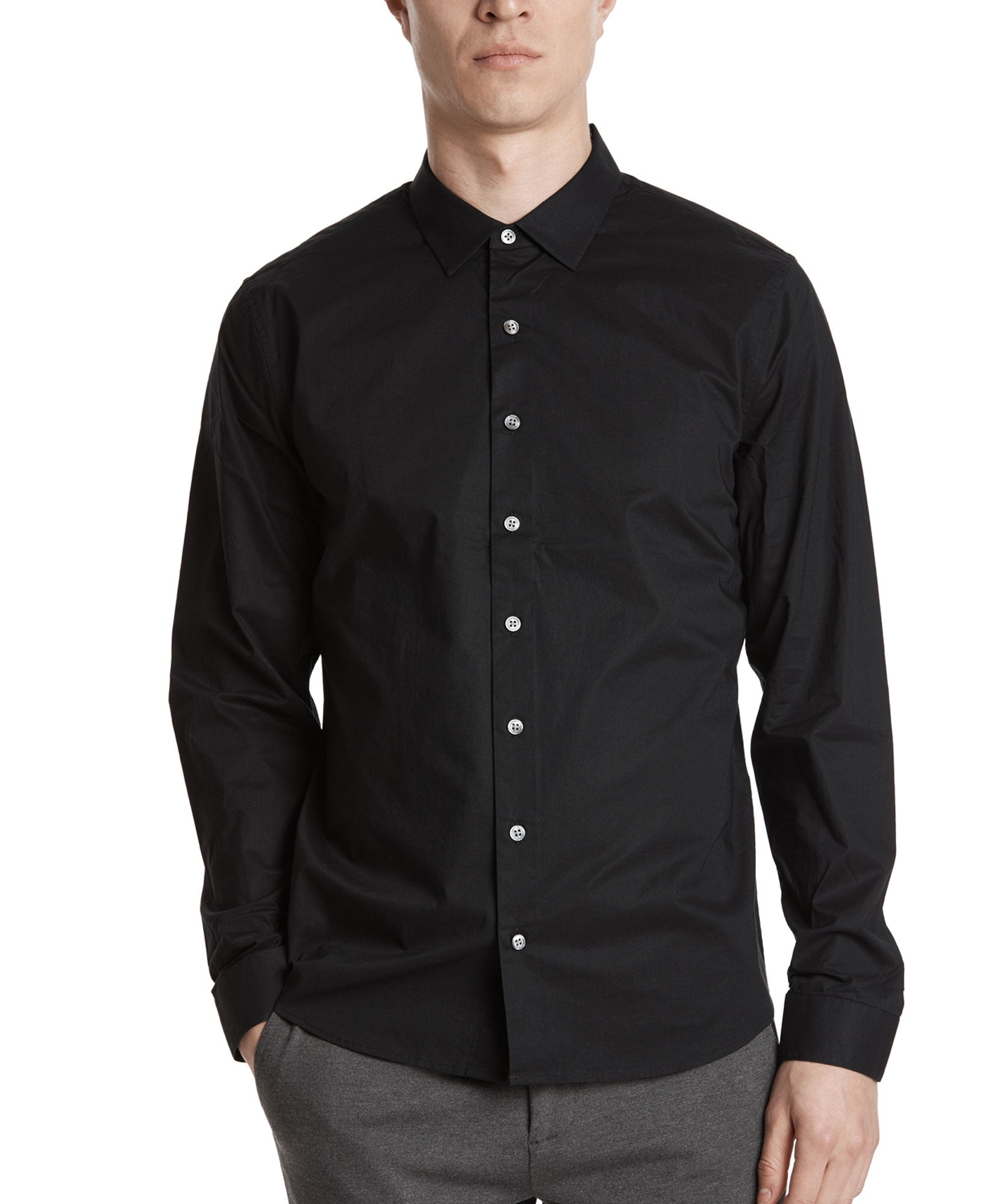 Black Cotton Poplin Classic Dress Shirt - Men's Cotton Long Sleeve Shirt by ATM Anthony Thomas Melillo