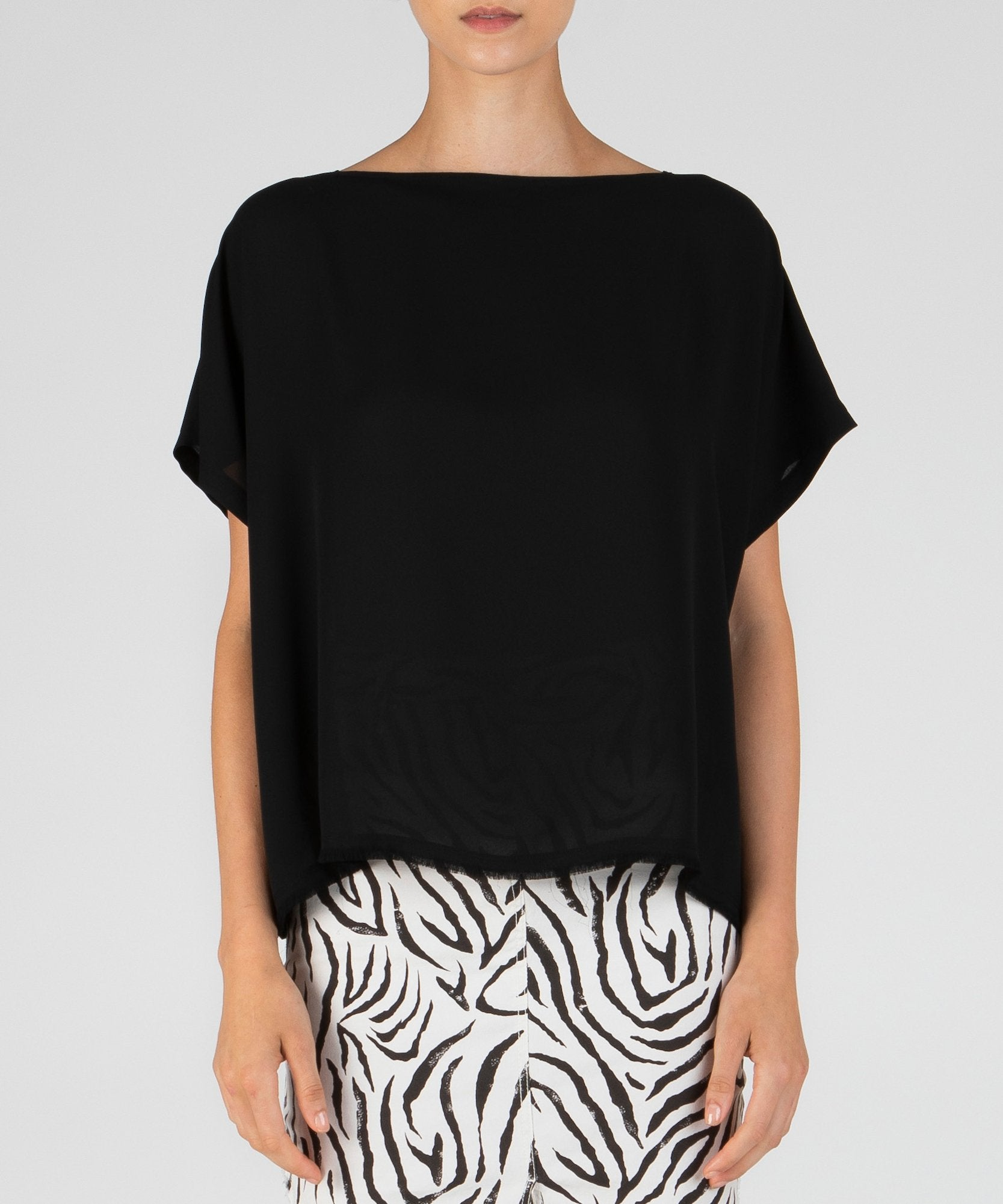 Black Crepe Georgette Boat Neck Top - Women's Blouse by ATM Anthony Thomas Melillo