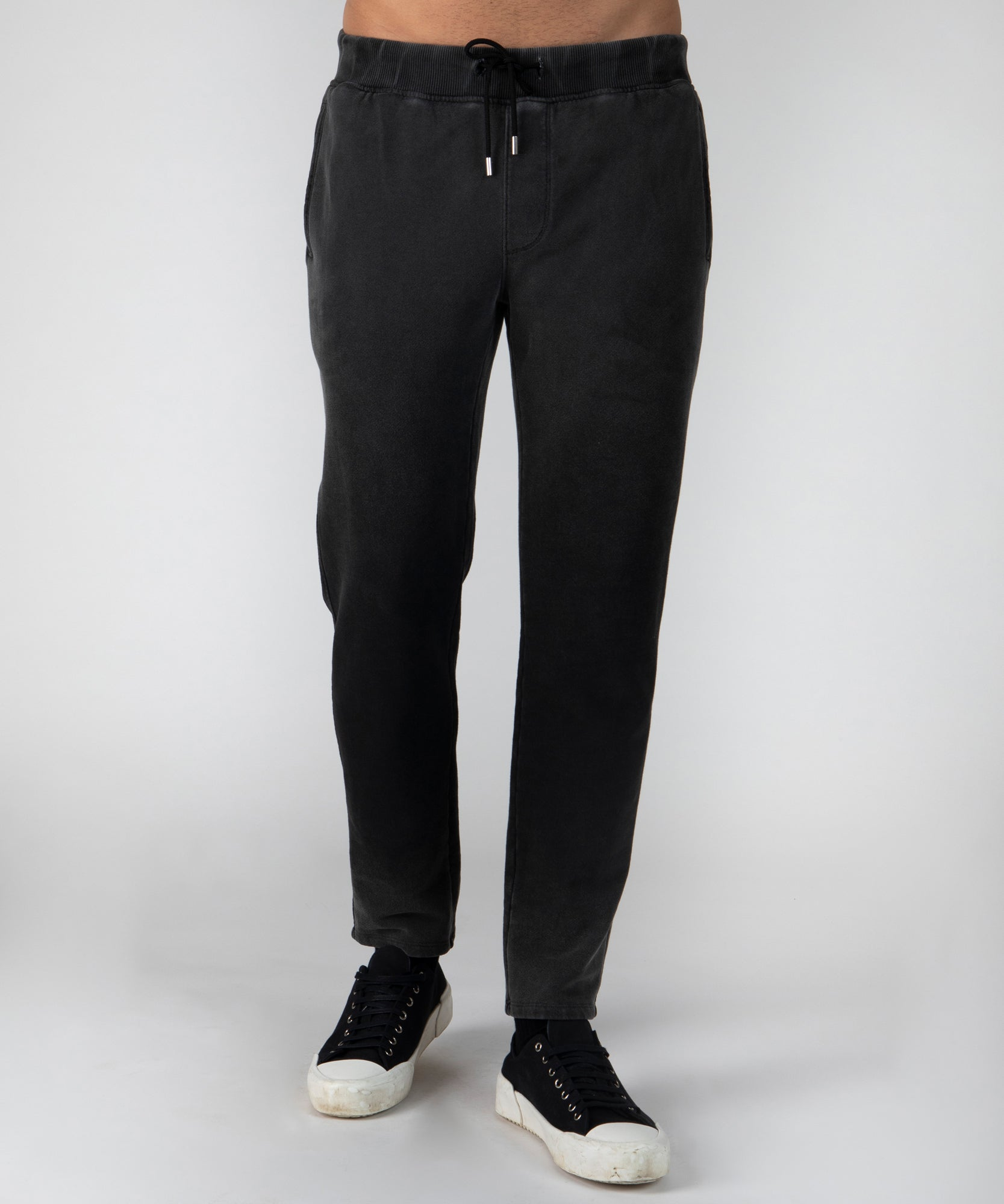 Black Crystal Wash French Terry Pants - Men's Luxe Loungewear by ATM Anthony Thomas Melillo
