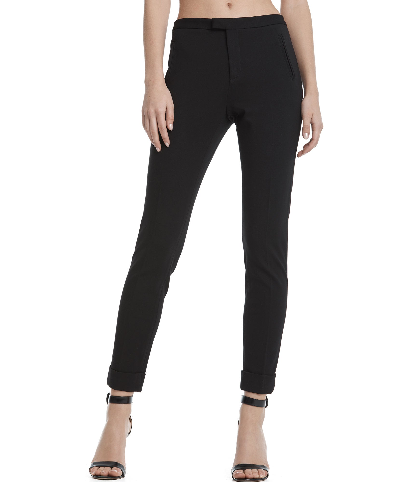 Black Cuffed Ponte Classic Pants - Women's Luxe Pants by ATM Anthony Thomas Melillo