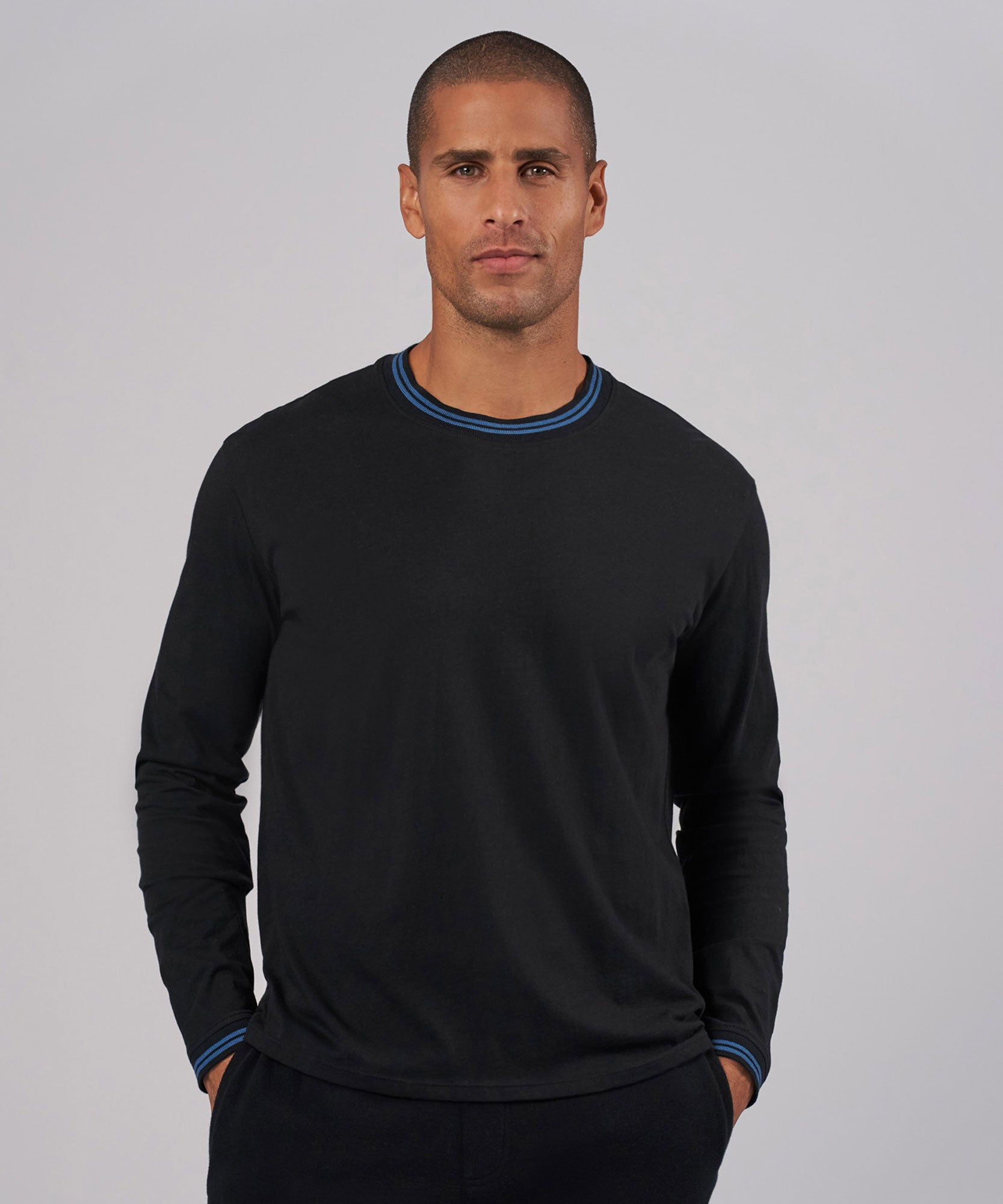 Black/ Fiji Combo Classic Jersey Long Sleeve Crew Neck Tee - Men's Cotton Long Sleeve Tee by ATM Anthony Thomas Melillo