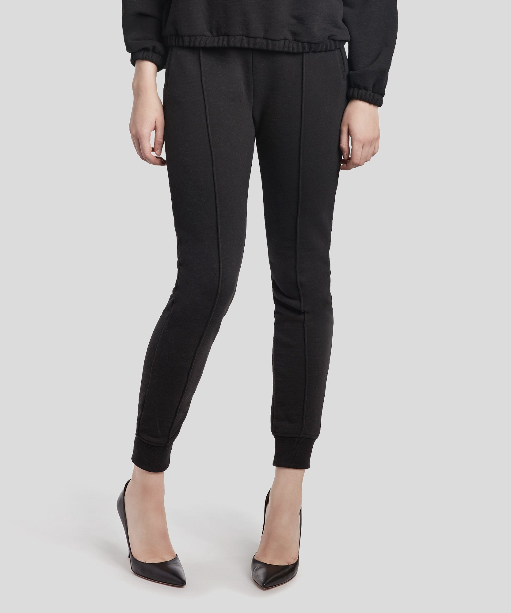 Black French Terry Pintuck Sweatpants - Women's Luxe Loungewear by ATM Anthony Thomas Melillo