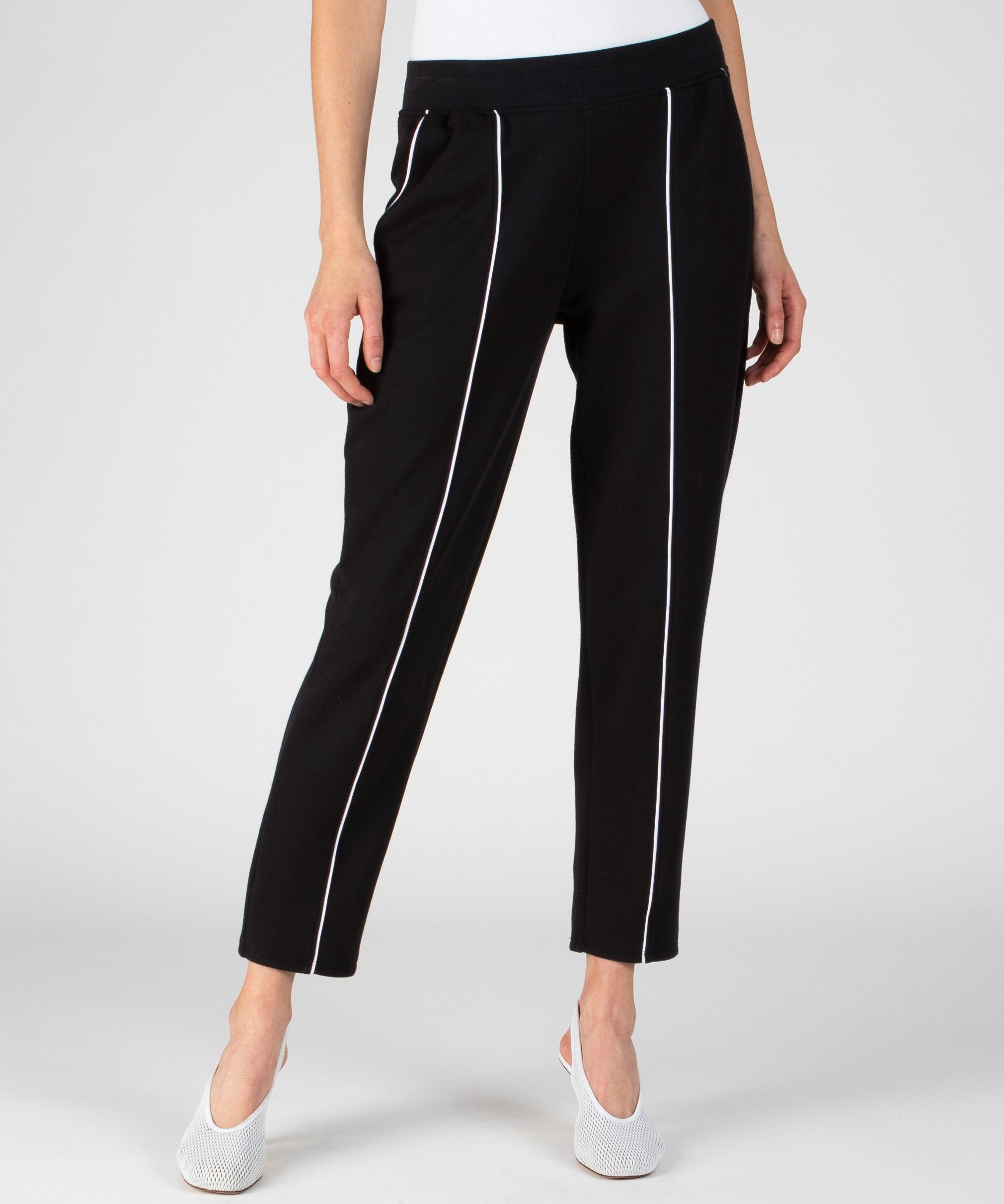 Black French Terry Piped Pull-On Pants - Women's Luxe Loungewear by ATM Anthony Thomas Melillo