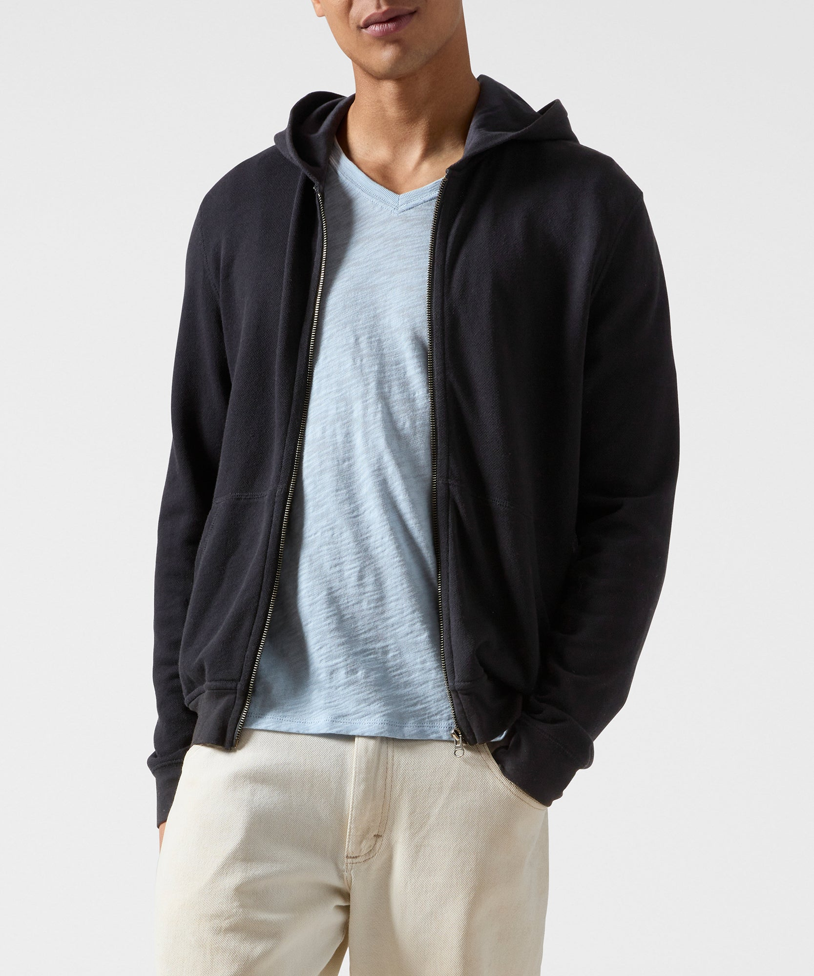 Black French Terry Zip-Up Hoodie - Men's Luxe Loungewear by ATM Anthony Thomas Melillo