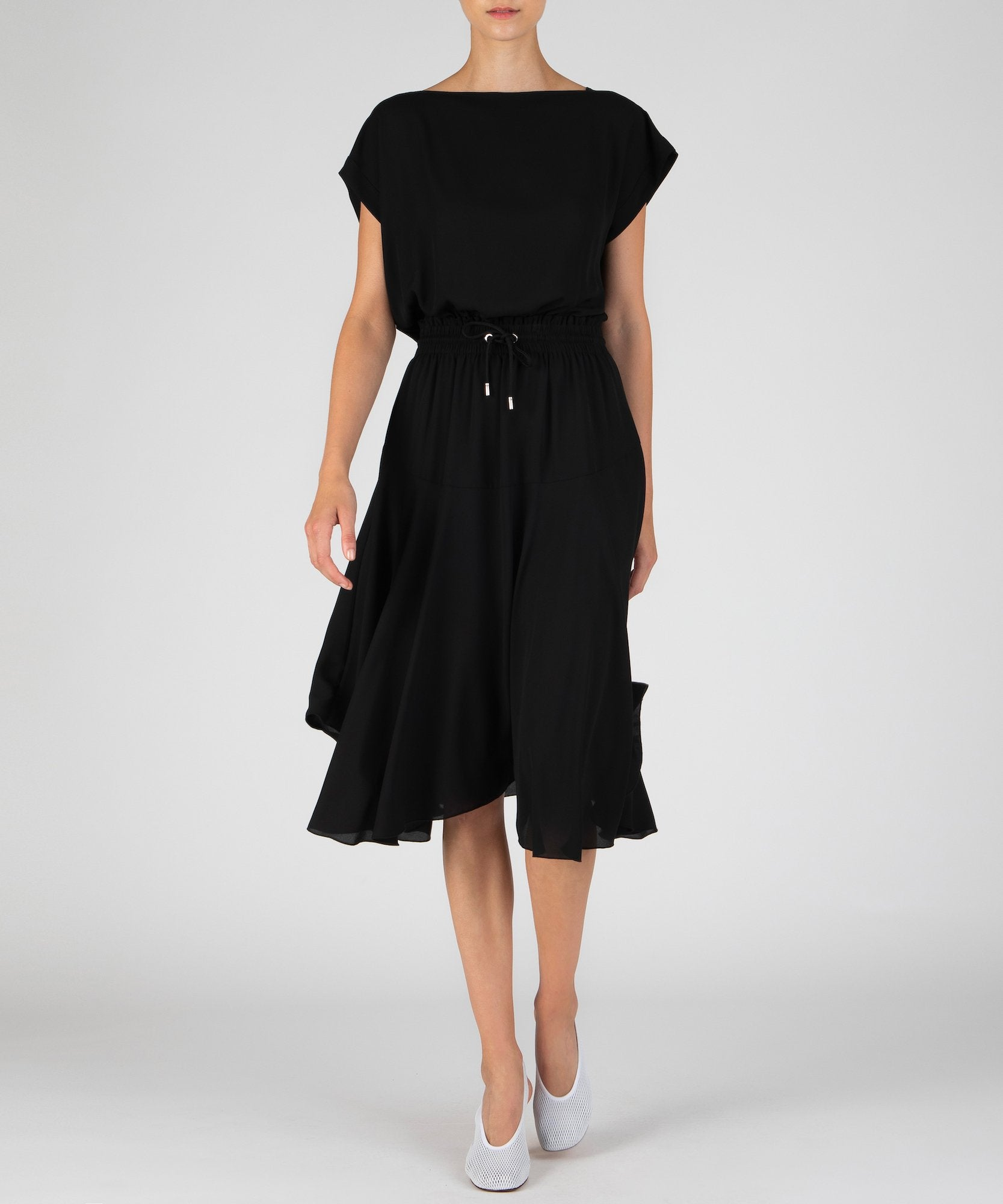 Black Georgette Gathered Waist Dress - Women's Casual Dress by ATM Anthony Thomas Melillo