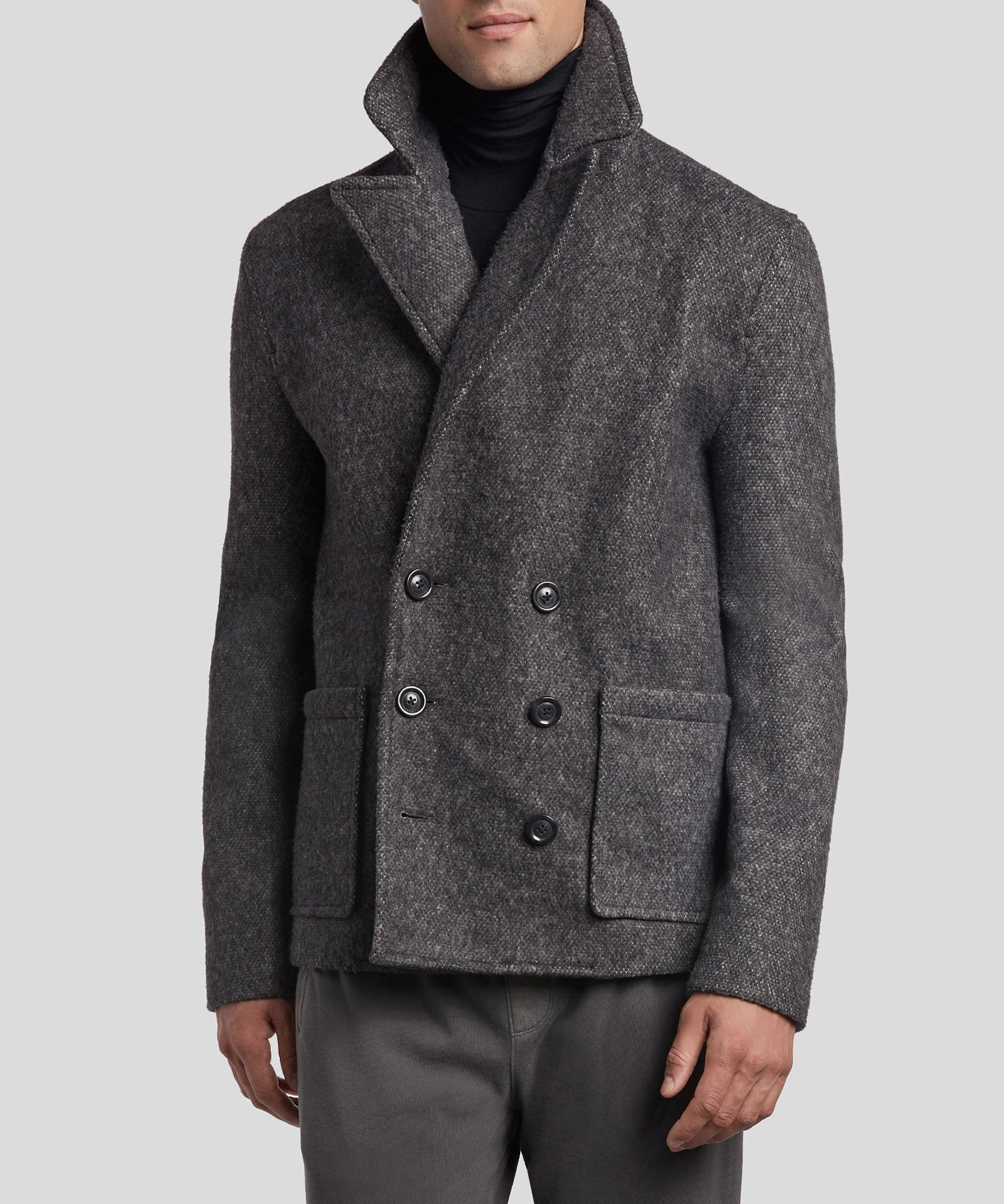Black and Grey Fleece Peacoat - Men's Jacket by ATM Anthony Thomas Melillo