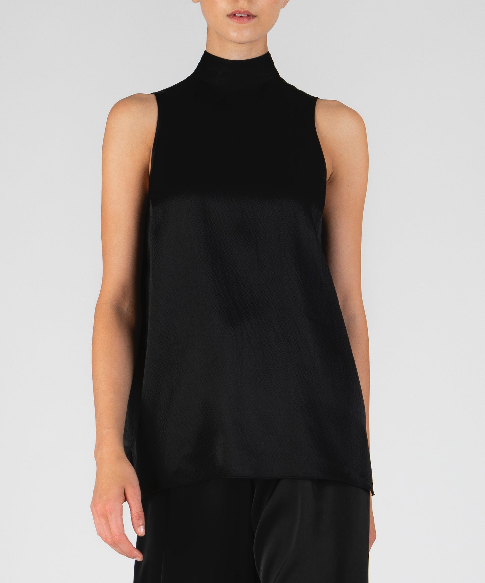 Black Hammered Silk Mock Neck Top - Women's Silk Top by ATM Anthony Thomas Melillo