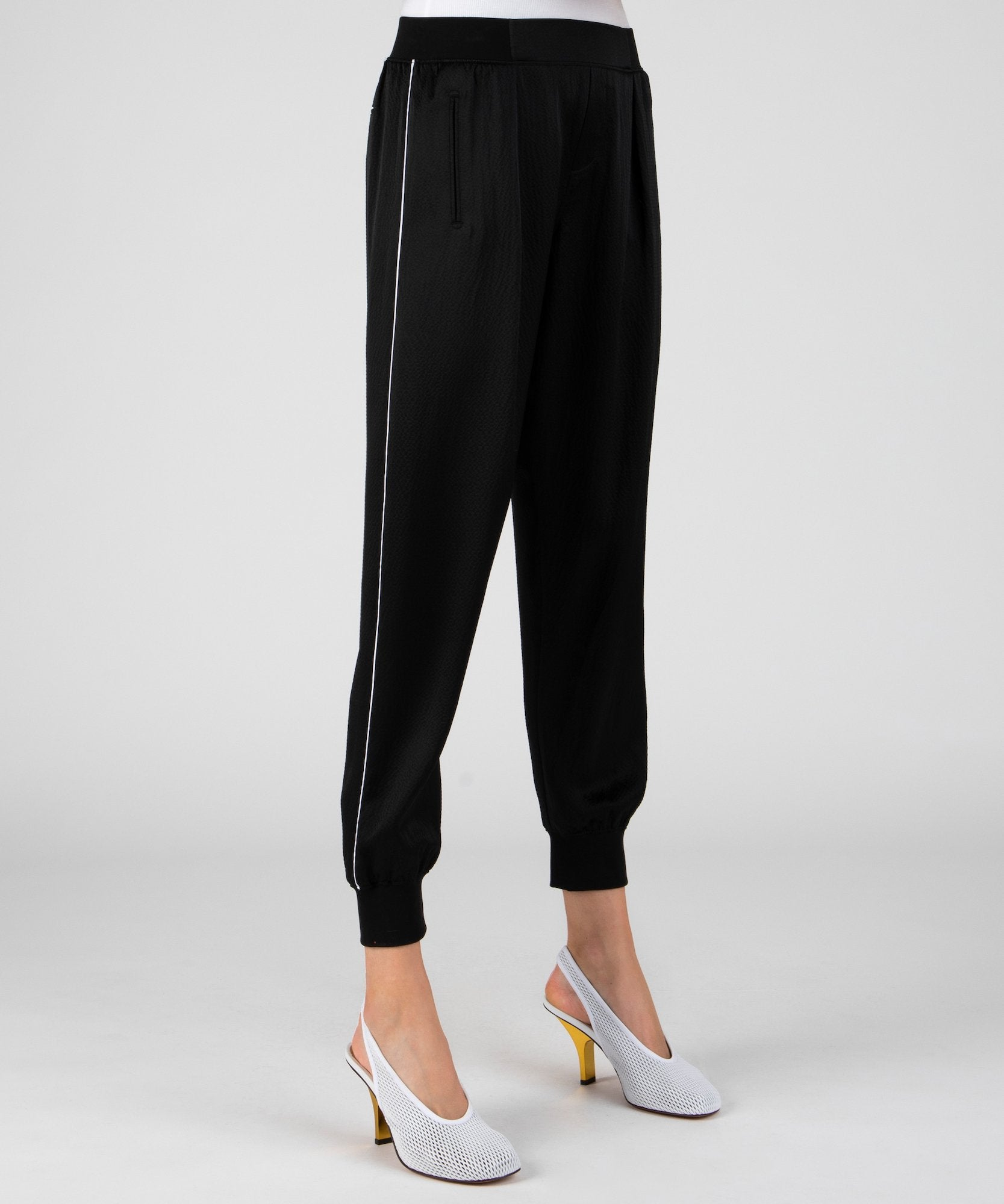 Black Hammered Silk Pull-On Sweatpants - Women's Silk Pants by ATM Anthony Thomas Melillo