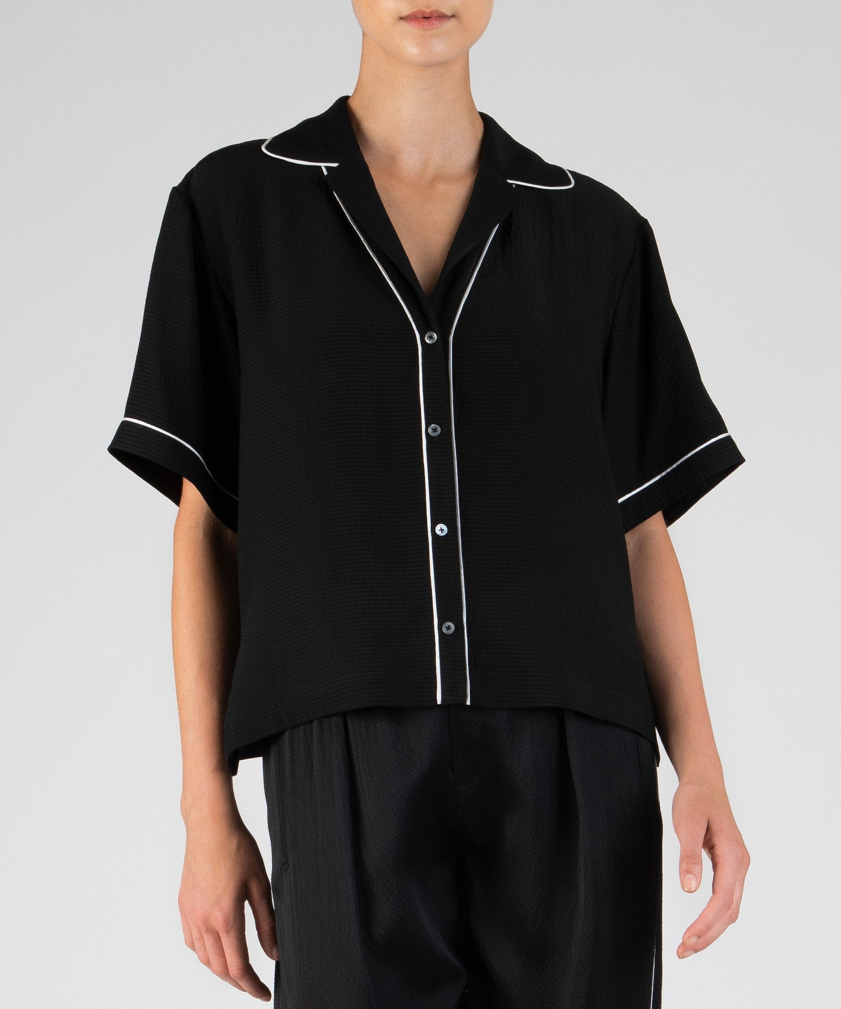 Black Hammered Silk Short Sleeve Cropped Shirt - Women's Blouse by ATM Anthony Thomas Melillo