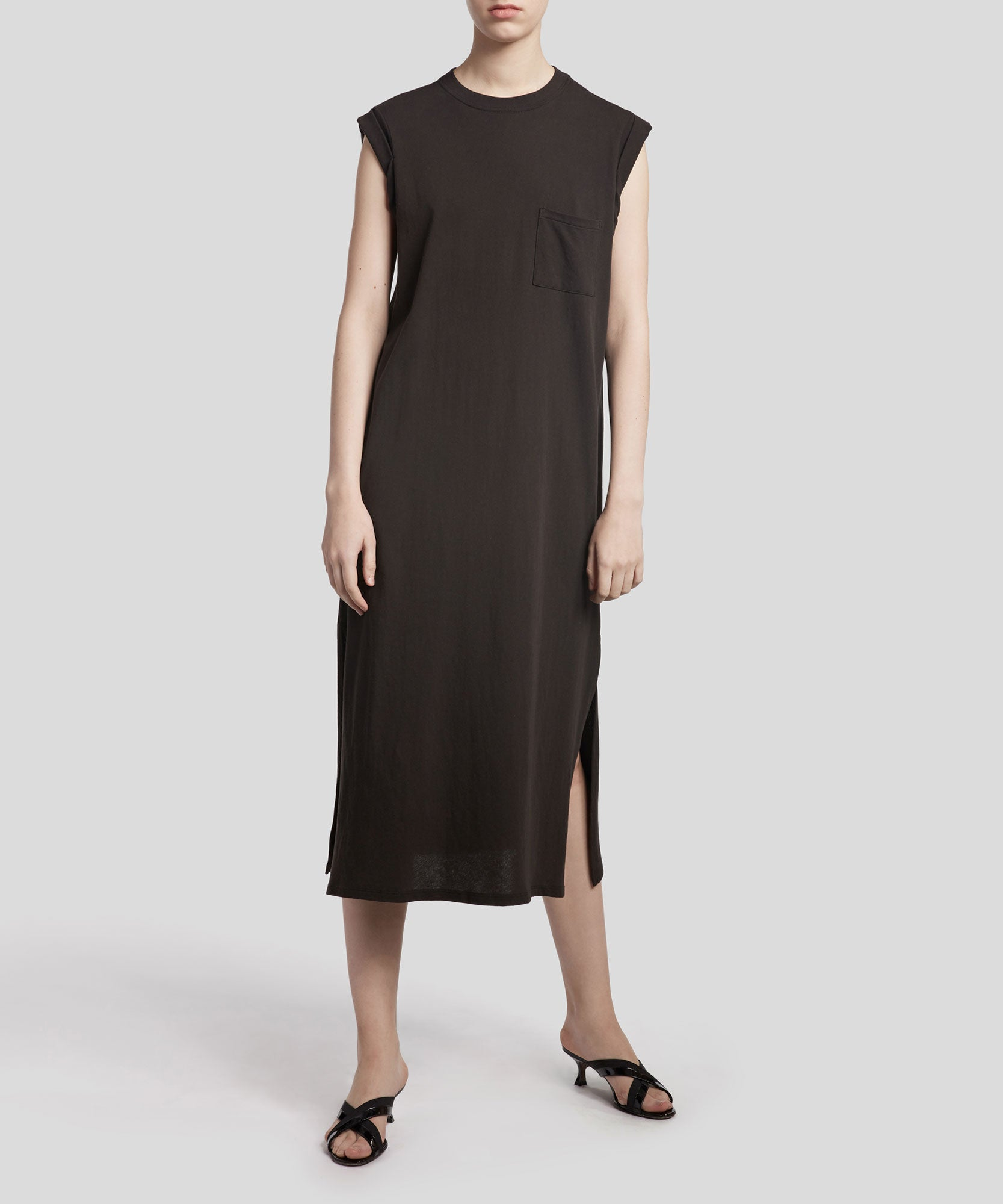 Black High Torsion Rolled Cuff Dress - Women's Sleeveless Dress by ATM Anthony Thomas Melillo