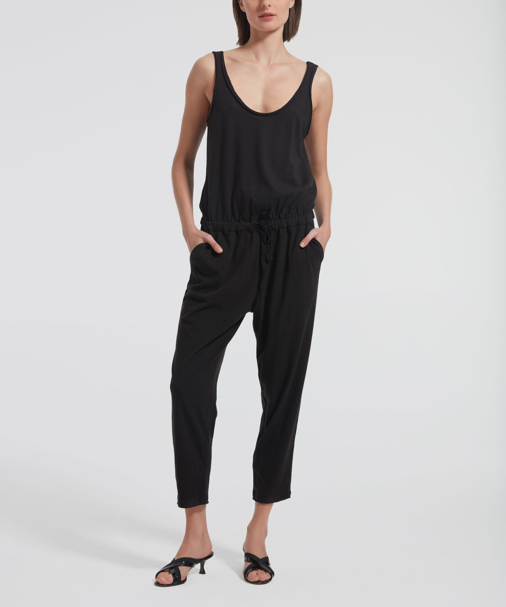 Black High Torsion Jumpsuit - Women's Sleeveless Jumpsuit by ATM Anthony Thomas Melillo