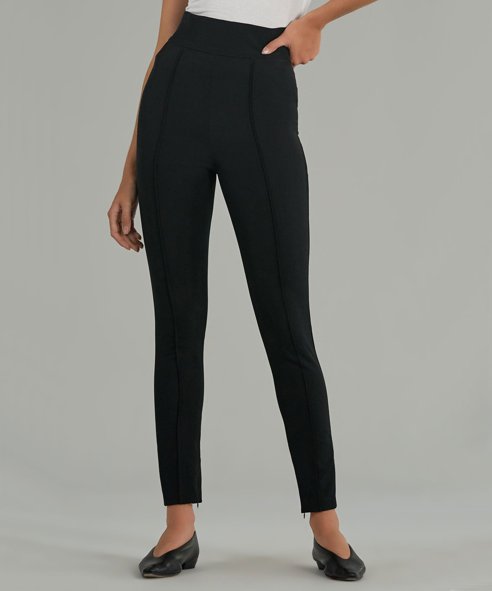 Black High Waisted Stretch Pants - Women's Pants by ATM Anthony Thomas Melillo