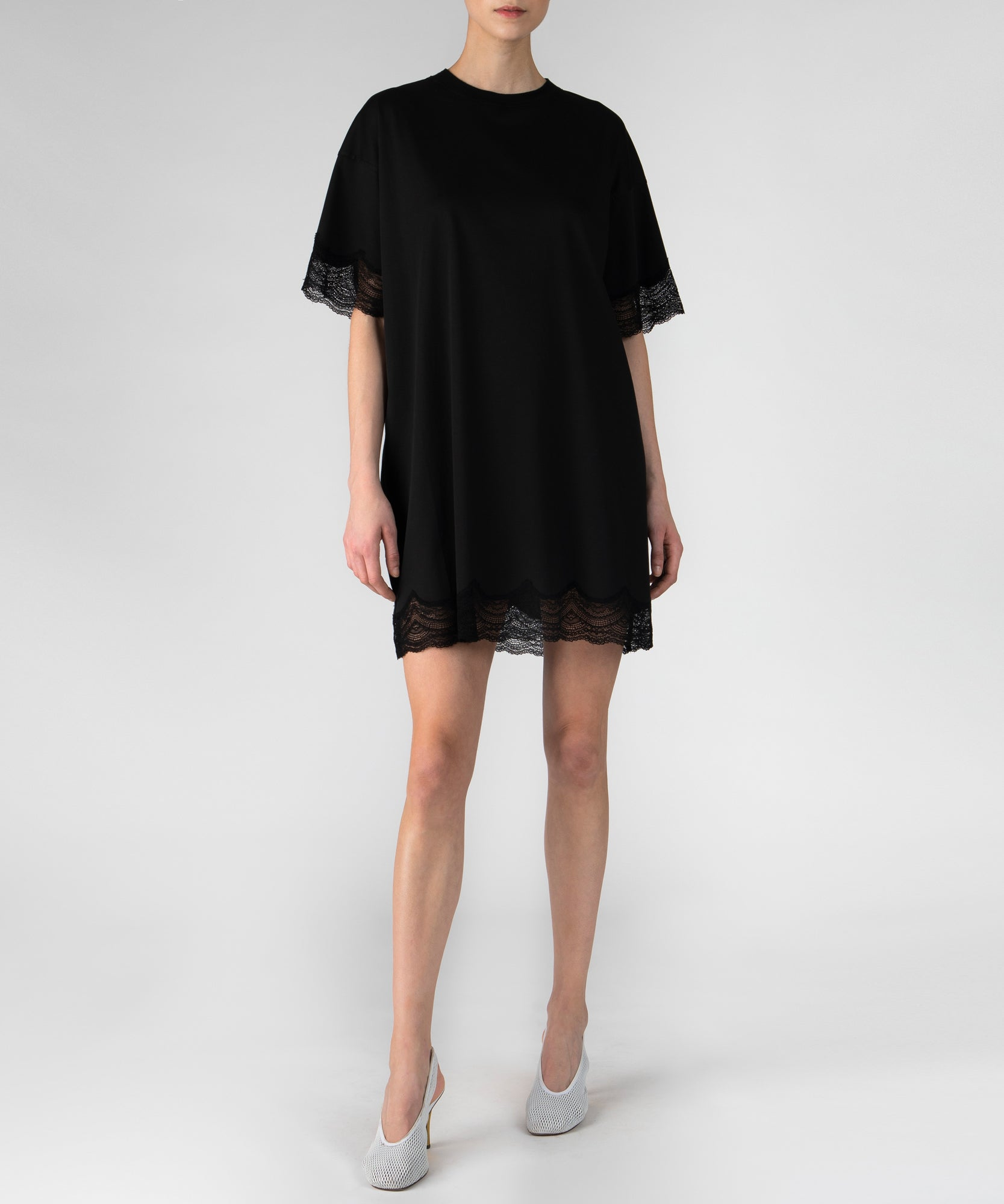 Black Lace Detail Mini Dress - Women's Casual Dress by ATM Anthony Thomas Melillo