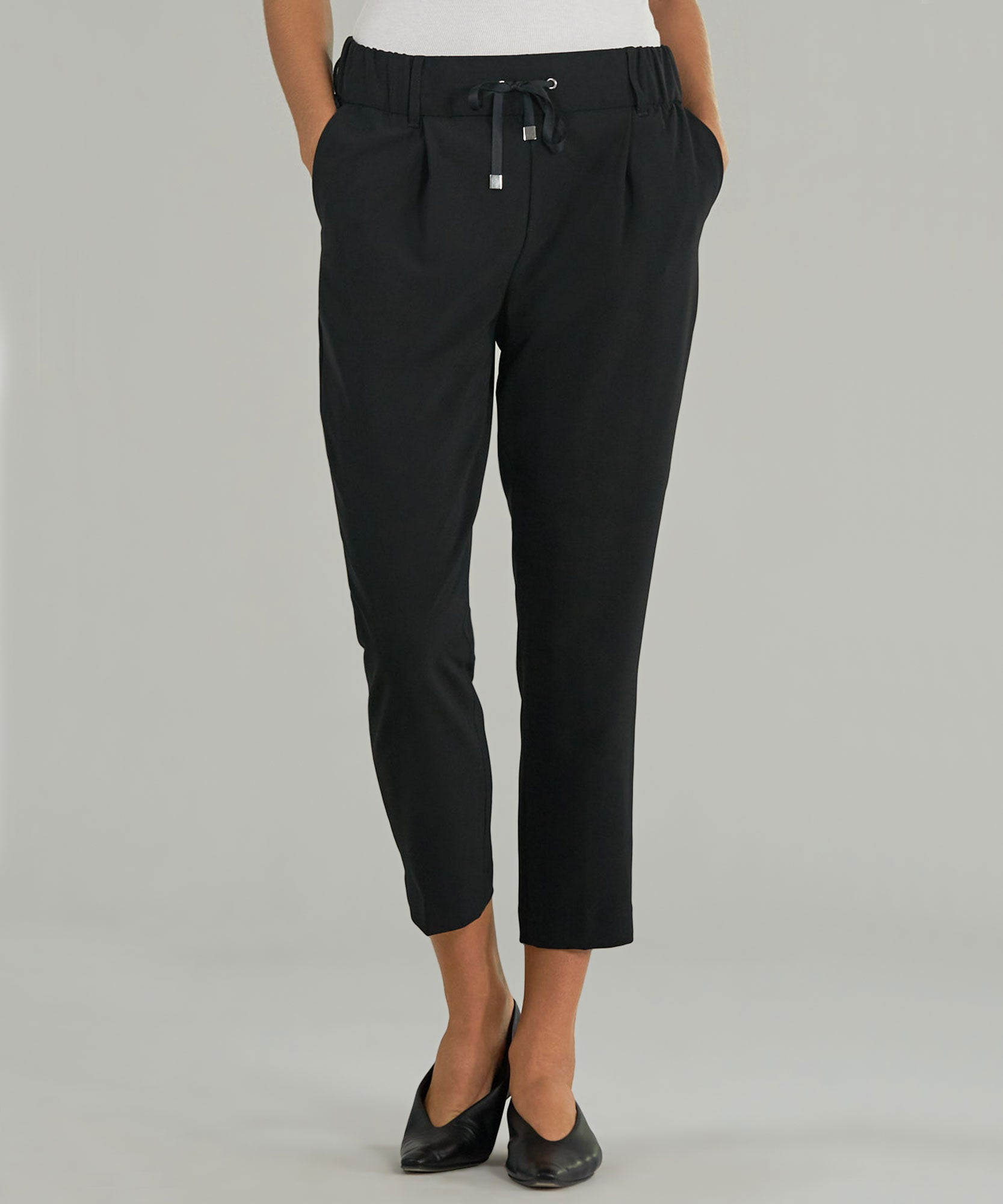 Black Micro Twill Pull-On Pants - Women's Luxury Pants by ATM Anthony Thomas Melillo