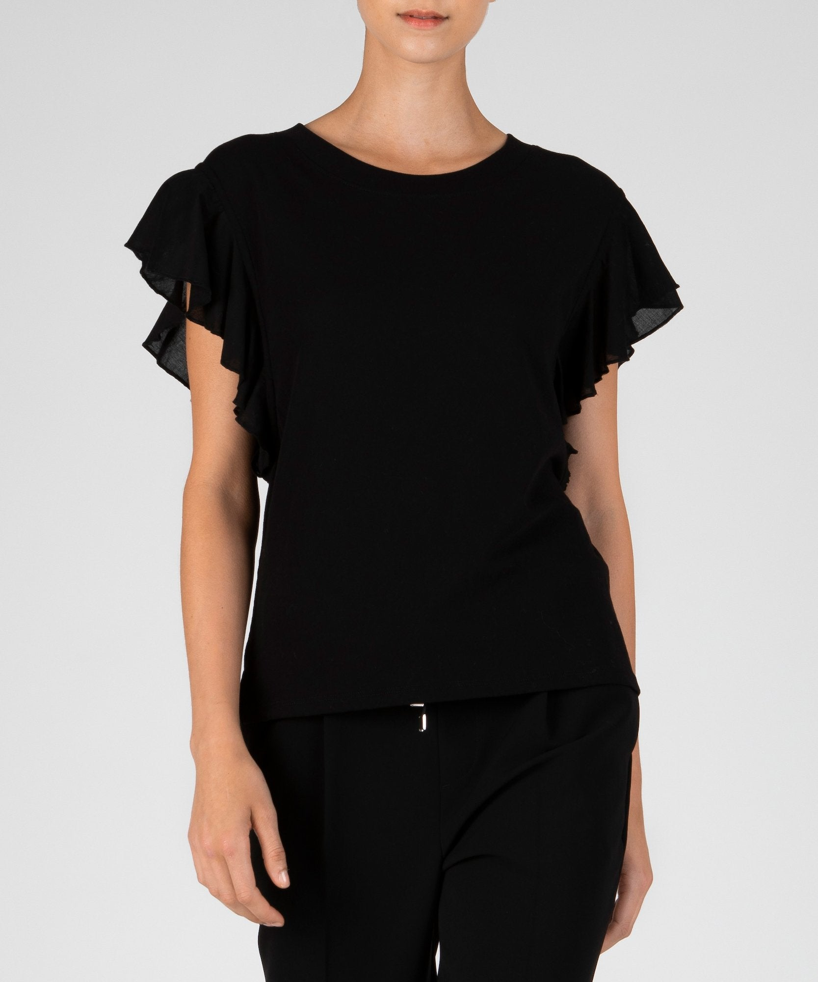 Black Mixed Media Fluted Sleeve Tee - Women's Cotton Top by ATM Anthony Thomas Melillo