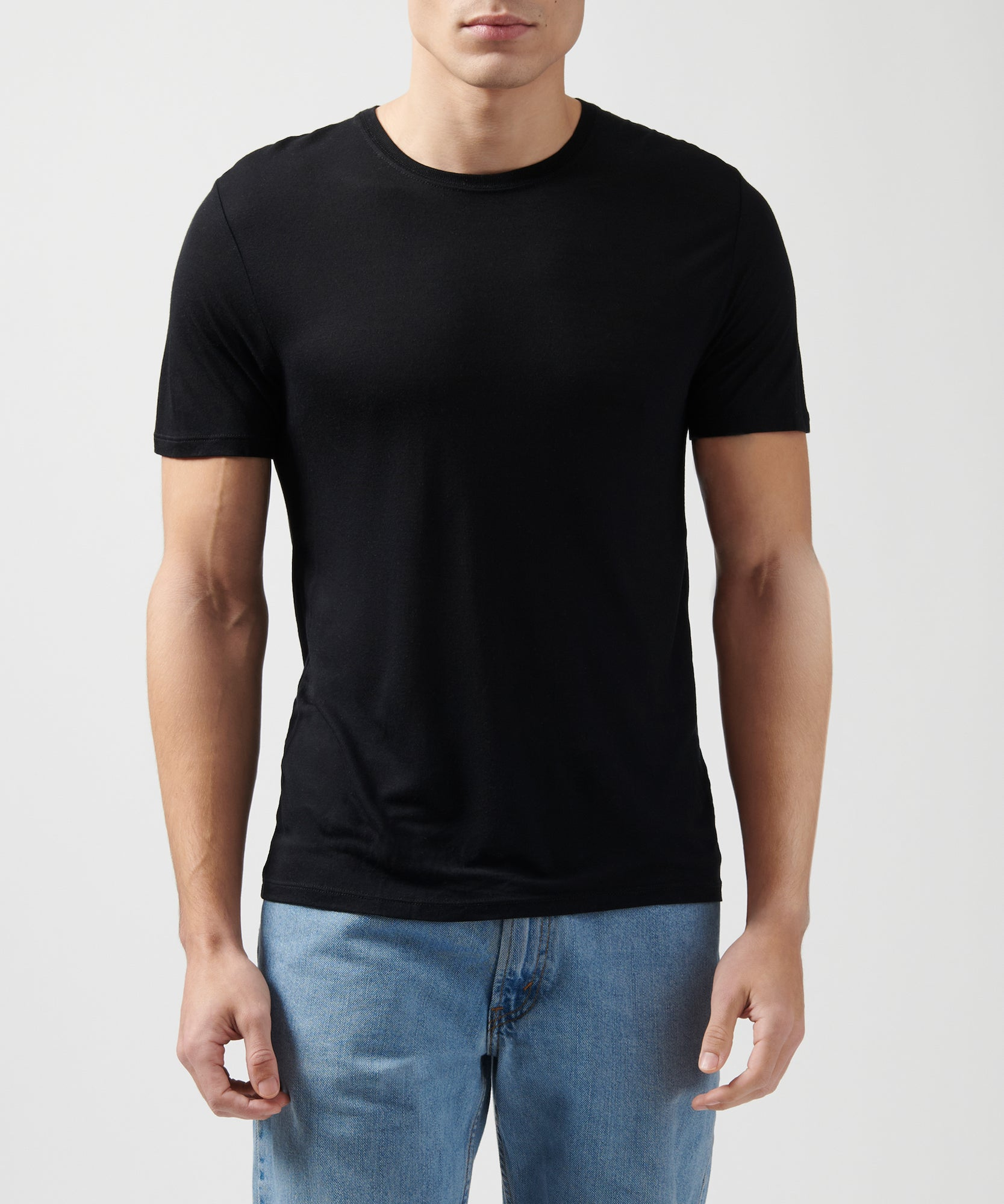 Black Modal Jersey Crew Neck Tee - Men's Jersey Short Sleeve Tee by ATM Anthony Thomas Melillo