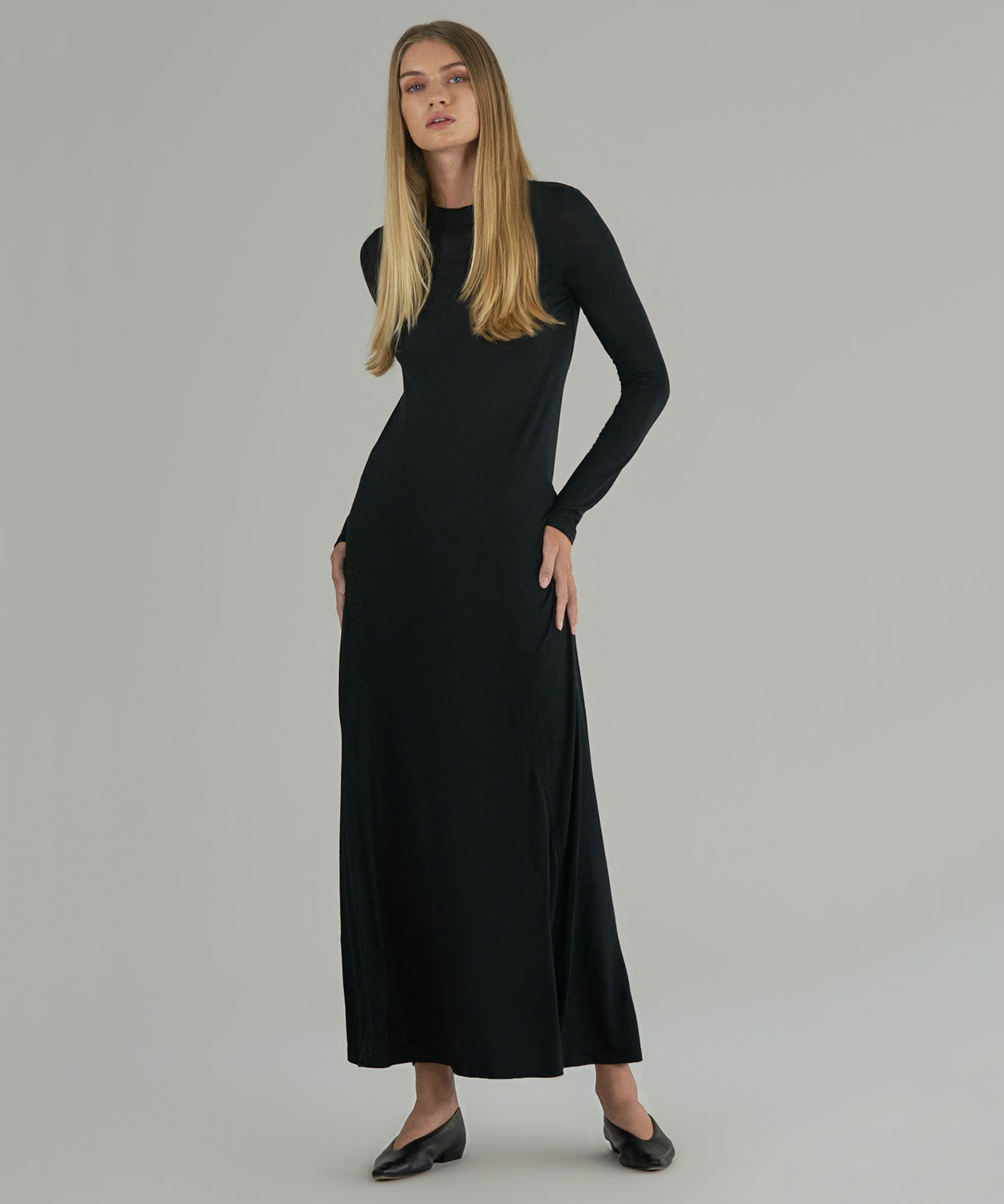 Black Modal Jersey Long Sleeve Crew Neck Seamed Maxi Dress - Women's Dress by ATM Anthony Thomas Melillo