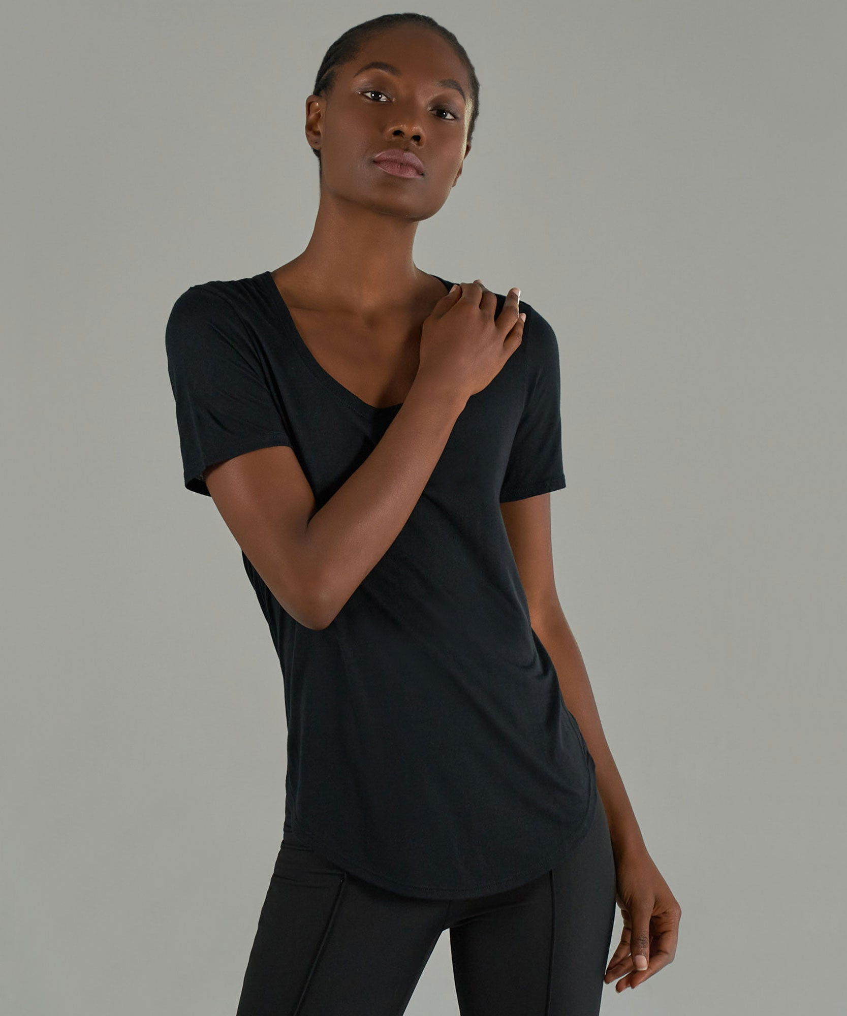 Black Modal Jersey Sweetheart Tee - Women's Jersey Tee by ATM Anthony Thomas Melillo