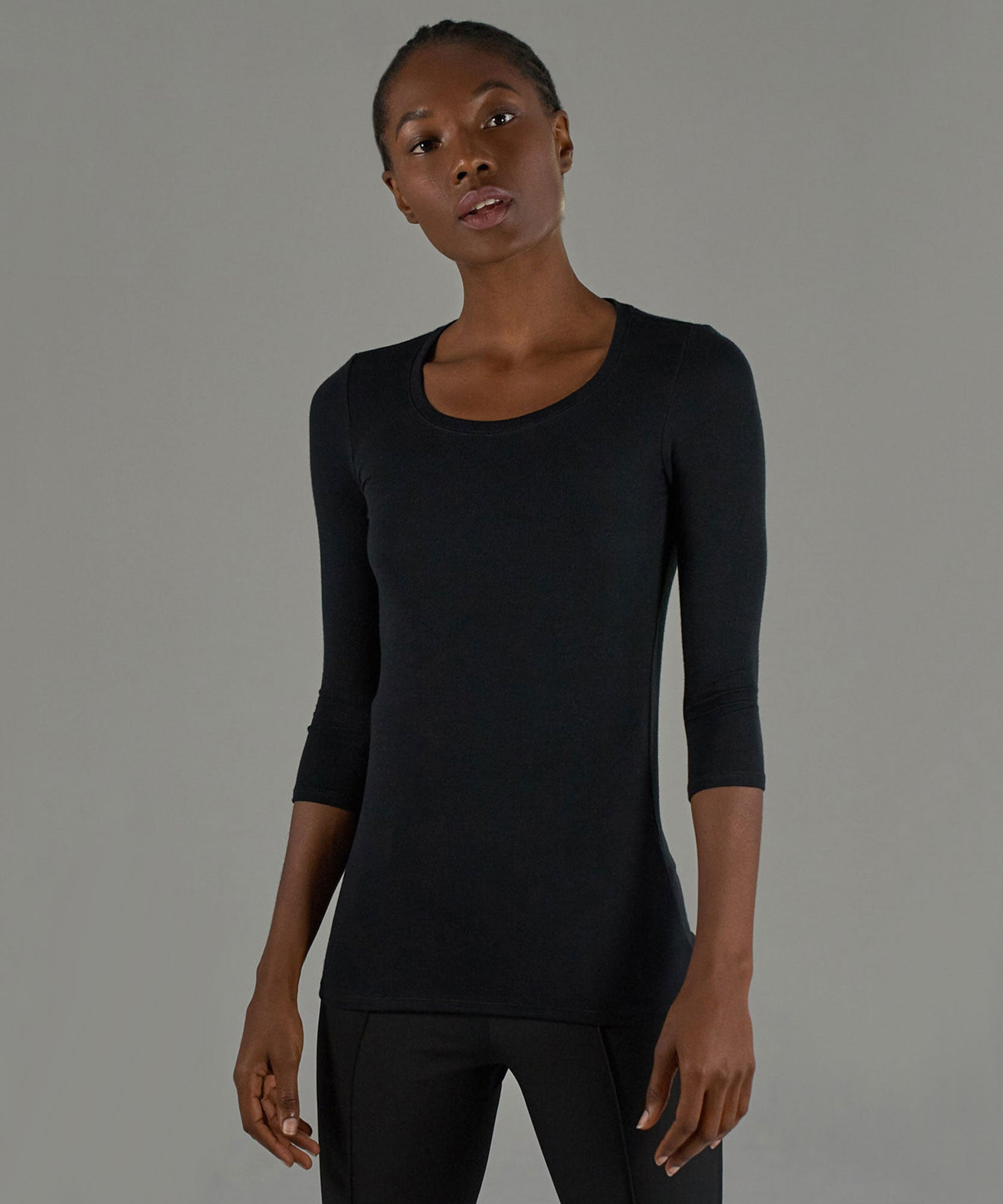 Black Modal Rib Ballet Neck 3/4 Sleeve Tee - Women's T-Shirt by ATM Anthony Thomas Melillo