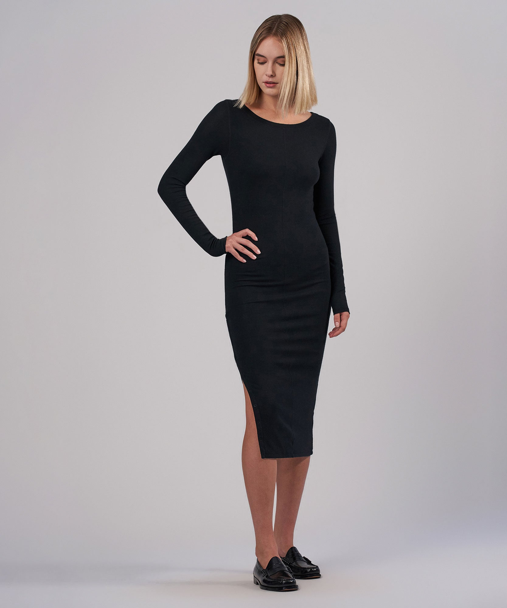 Black Modal Rib Bateaux Neck Midi Dress - Women's Dress by ATM Anthony Thomas Melillo