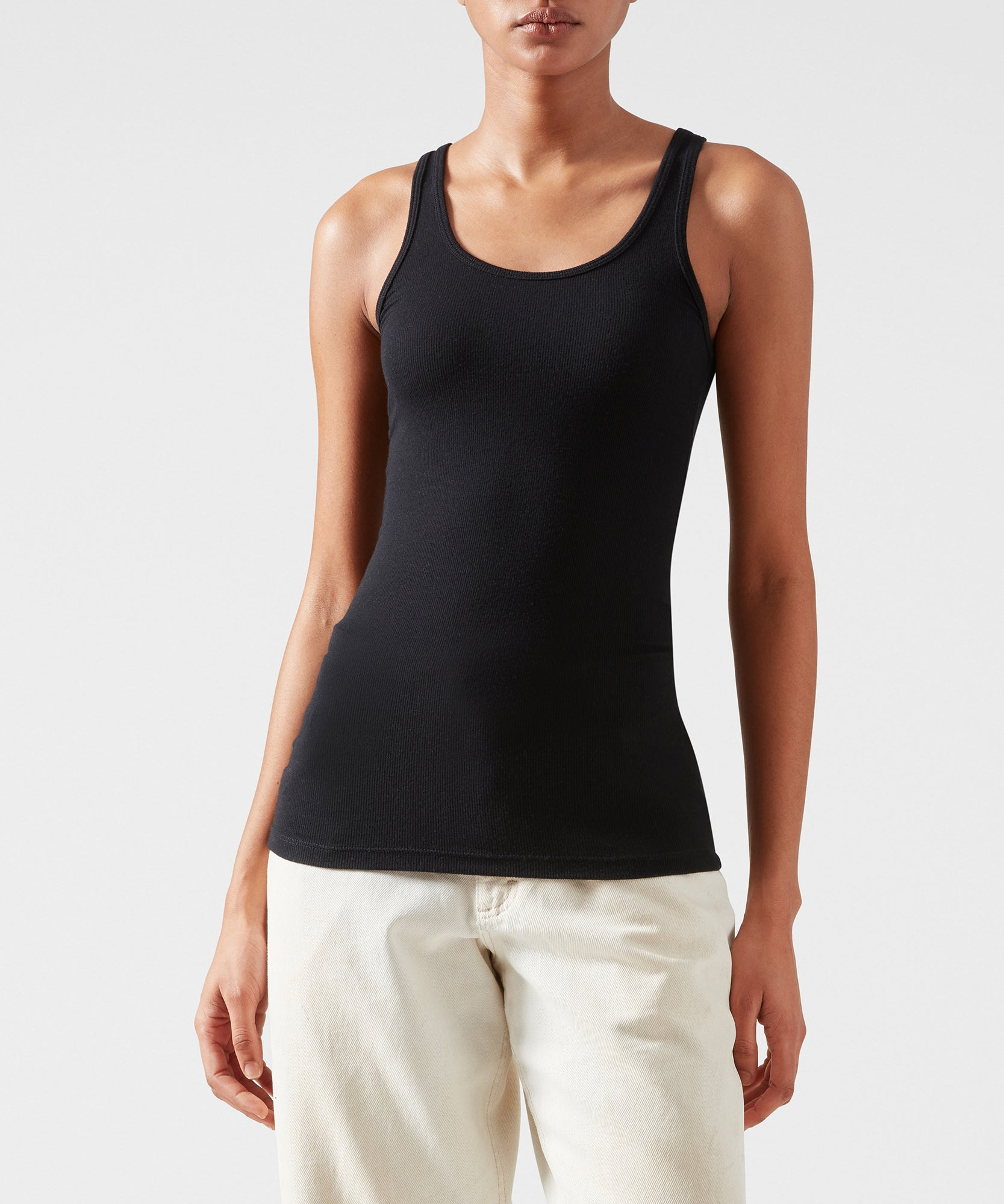 Black Modal Rib Boy Tank - Women's Luxe Ribbed Tank by ATM Anthony Thomas Melillo