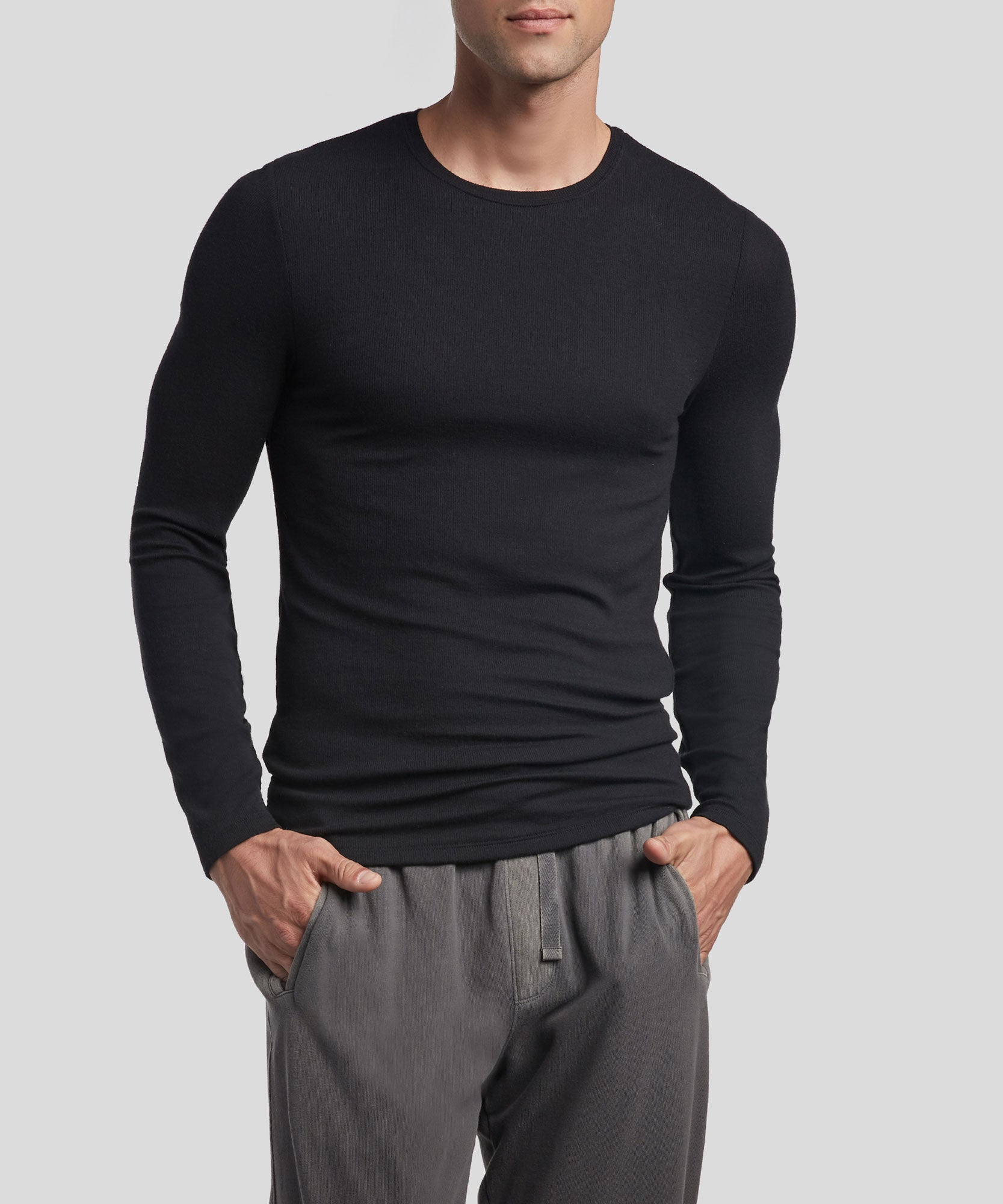 Black Modal Rib Long Sleeve Crew Neck Tee - Men's Ribbed Tee by ATM Anthony Thomas Melillo